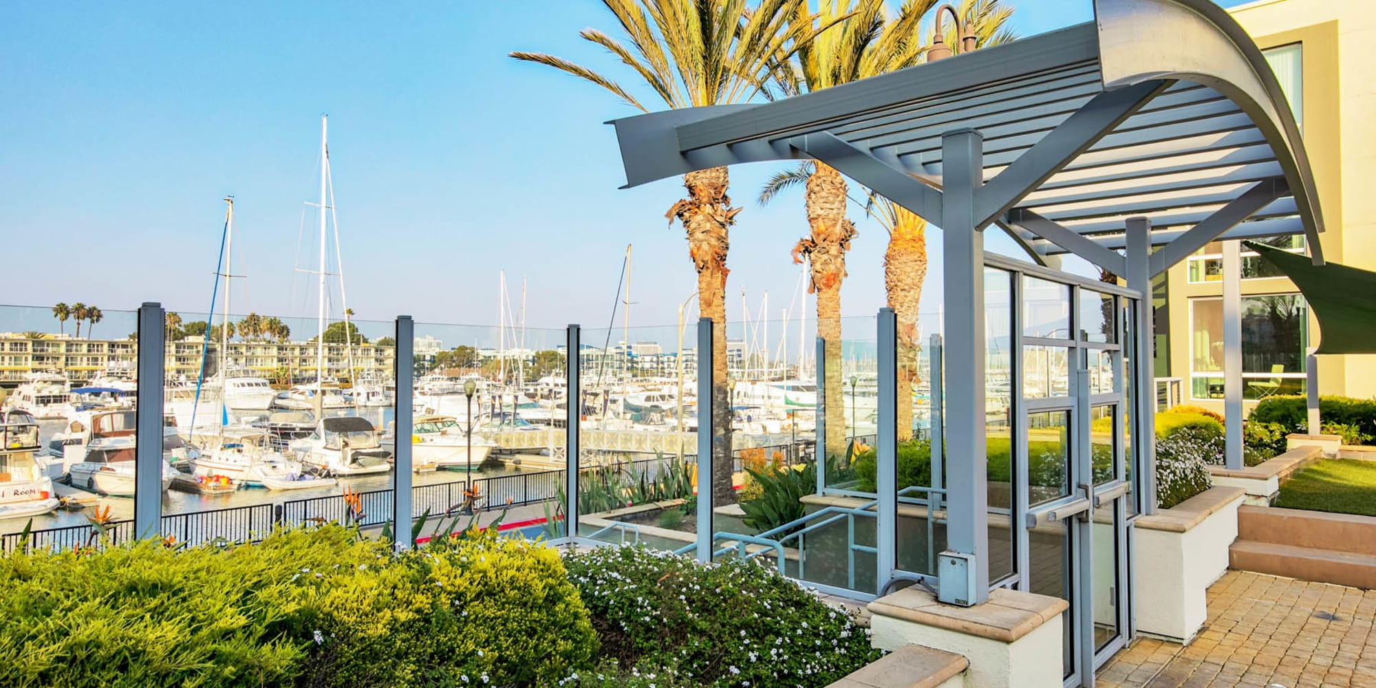 Terrific views of the harbor from our waterside community at Waters Edge at Marina Harbor in Marina Del Rey, California