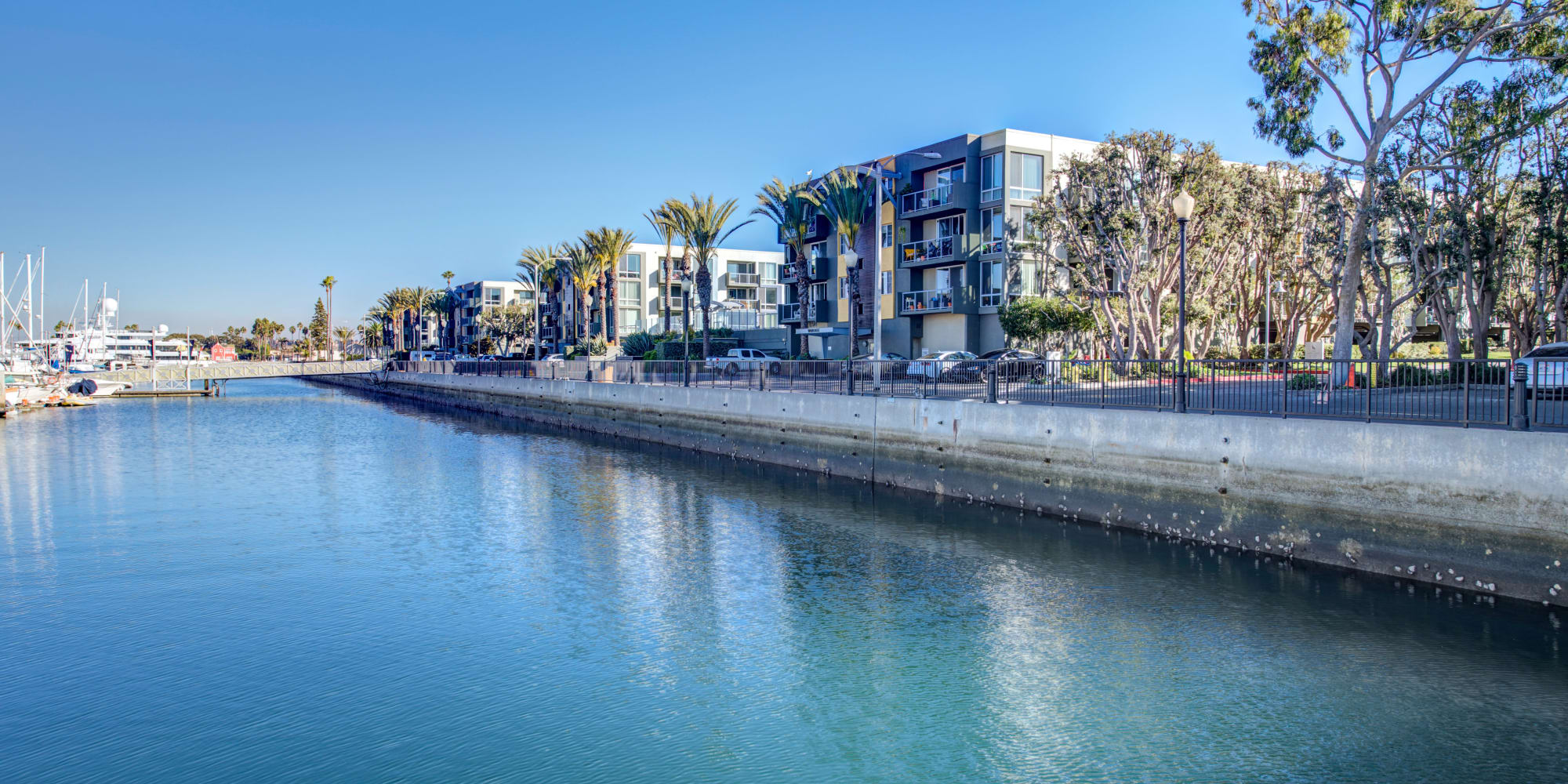 View of our luxury community from the water at Waters Edge at Marina Harbor in Marina Del Rey, California