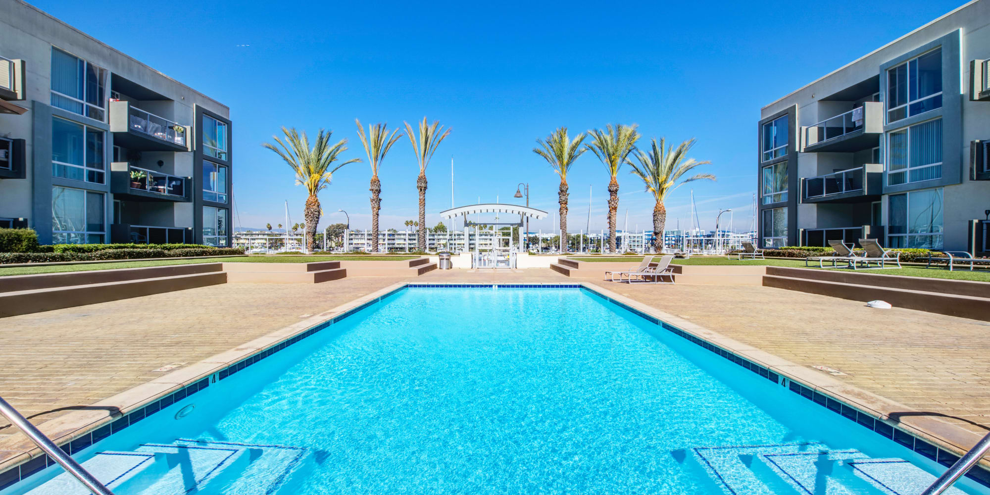 Gorgeous day at the pool at Waters Edge at Marina Harbor in Marina Del Rey, California