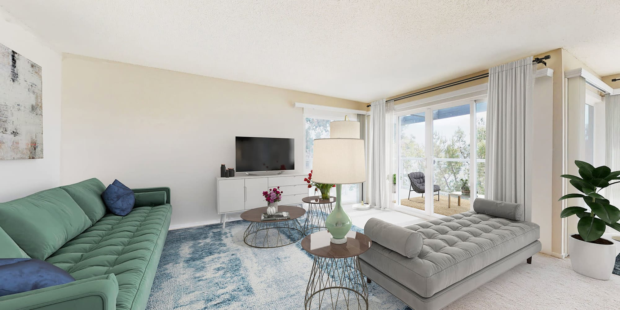 Stylish and modern open-concept living space in a spacious apartment home at The Tides at Marina Harbor in Marina del Rey, California
