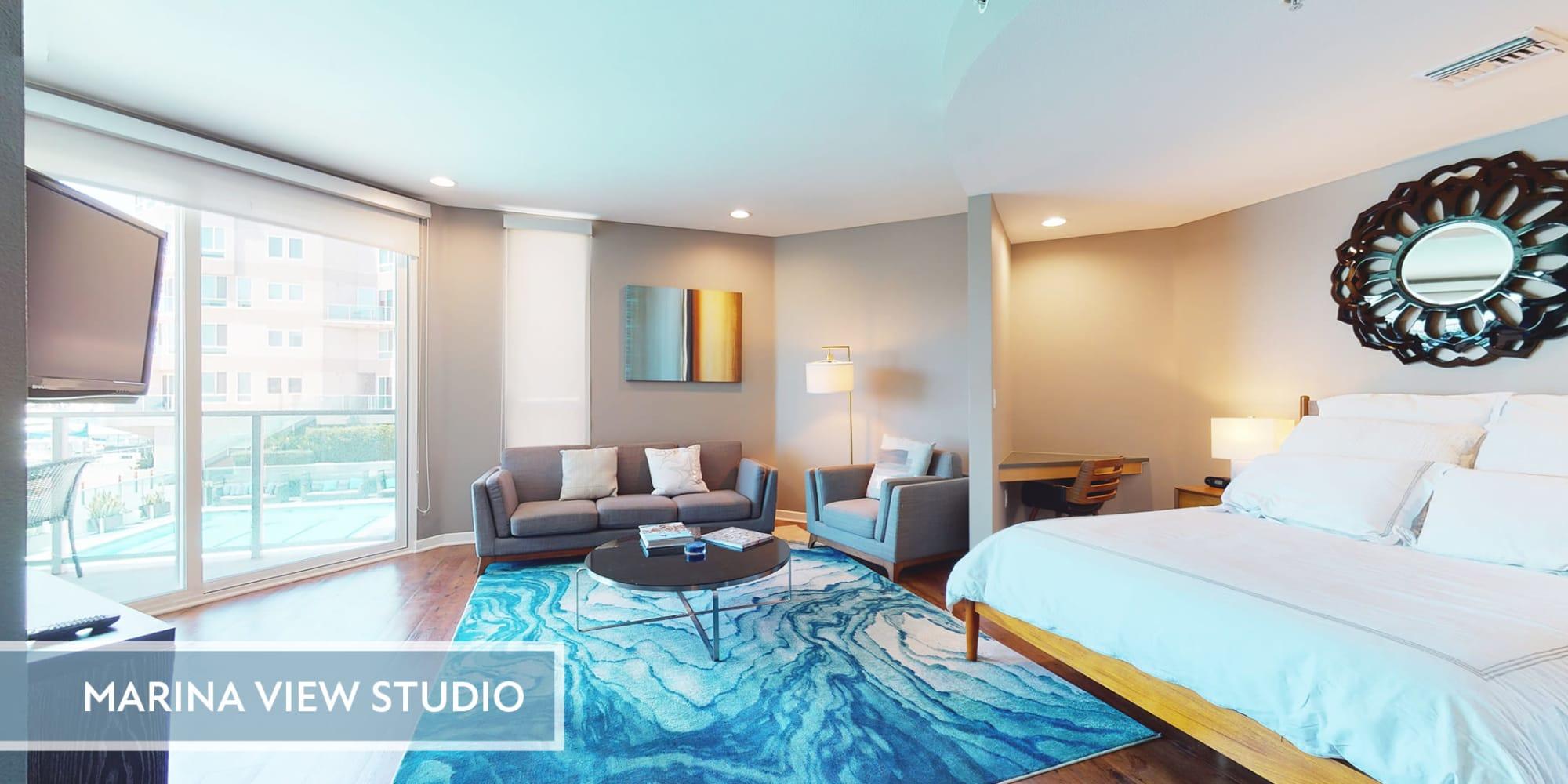 Spacious studio apartment with views of the marina at Esprit Marina del Rey in Marina del Rey, California