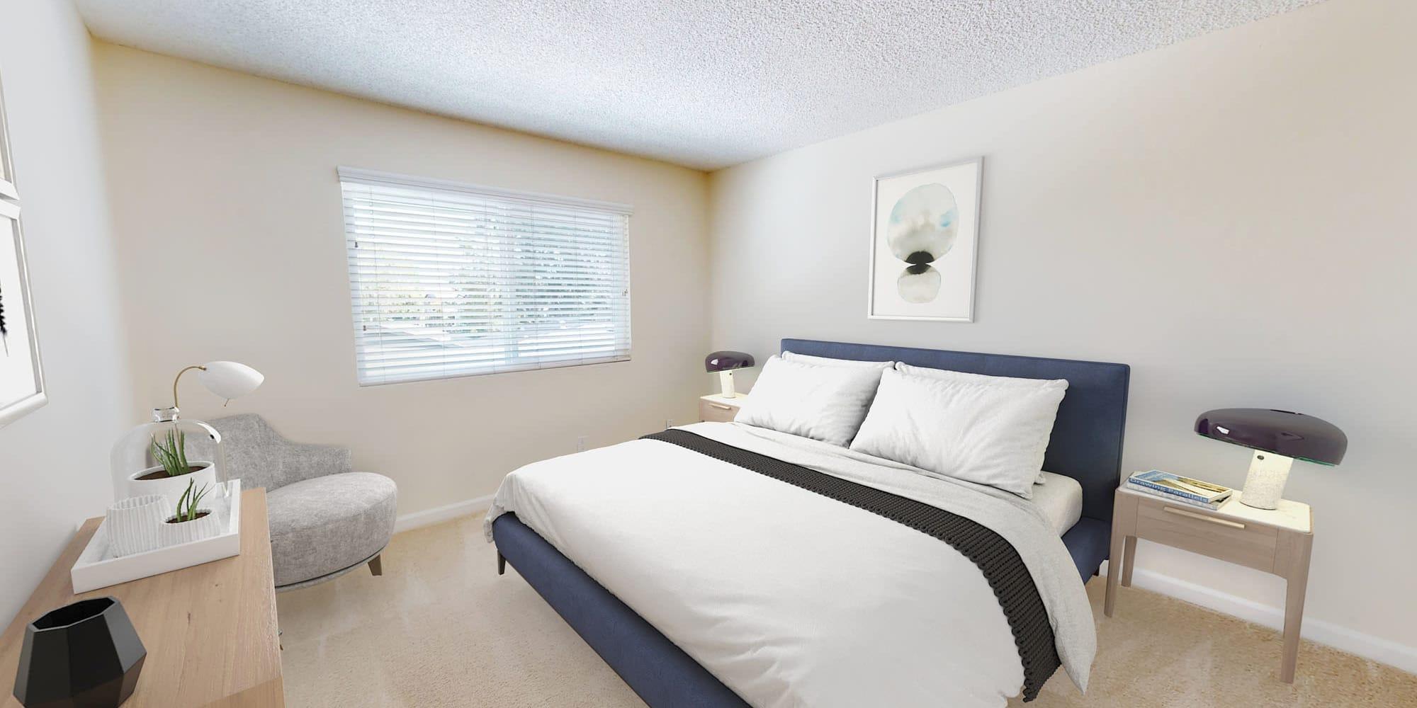 Plush carpeting in a model home's bedroom at Pleasanton Glen Apartment Homes in Pleasanton, California