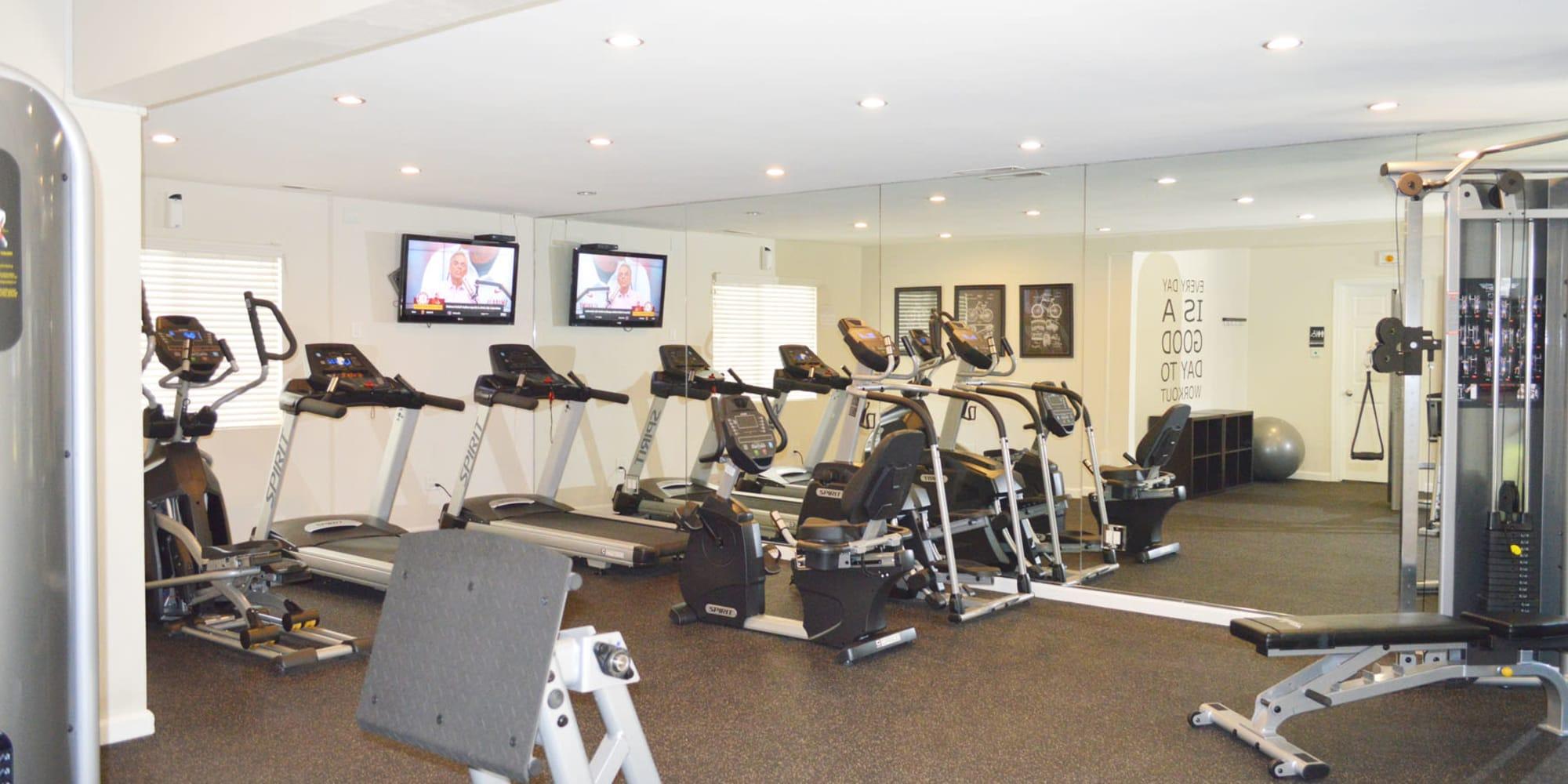 Onsite fitness center at Pleasanton Glen Apartment Homes in Pleasanton, California