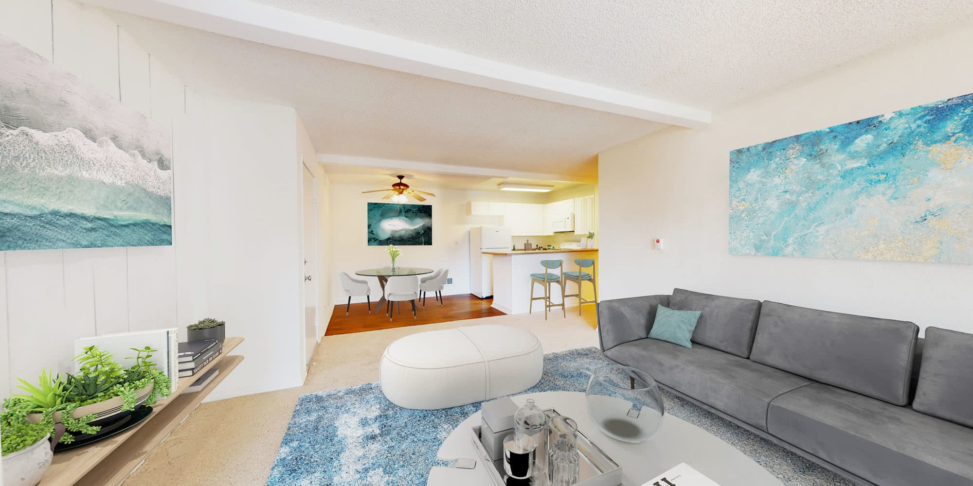 Spacious open-concept living area in a model apartment at Mariners Village in Marina del Rey, California