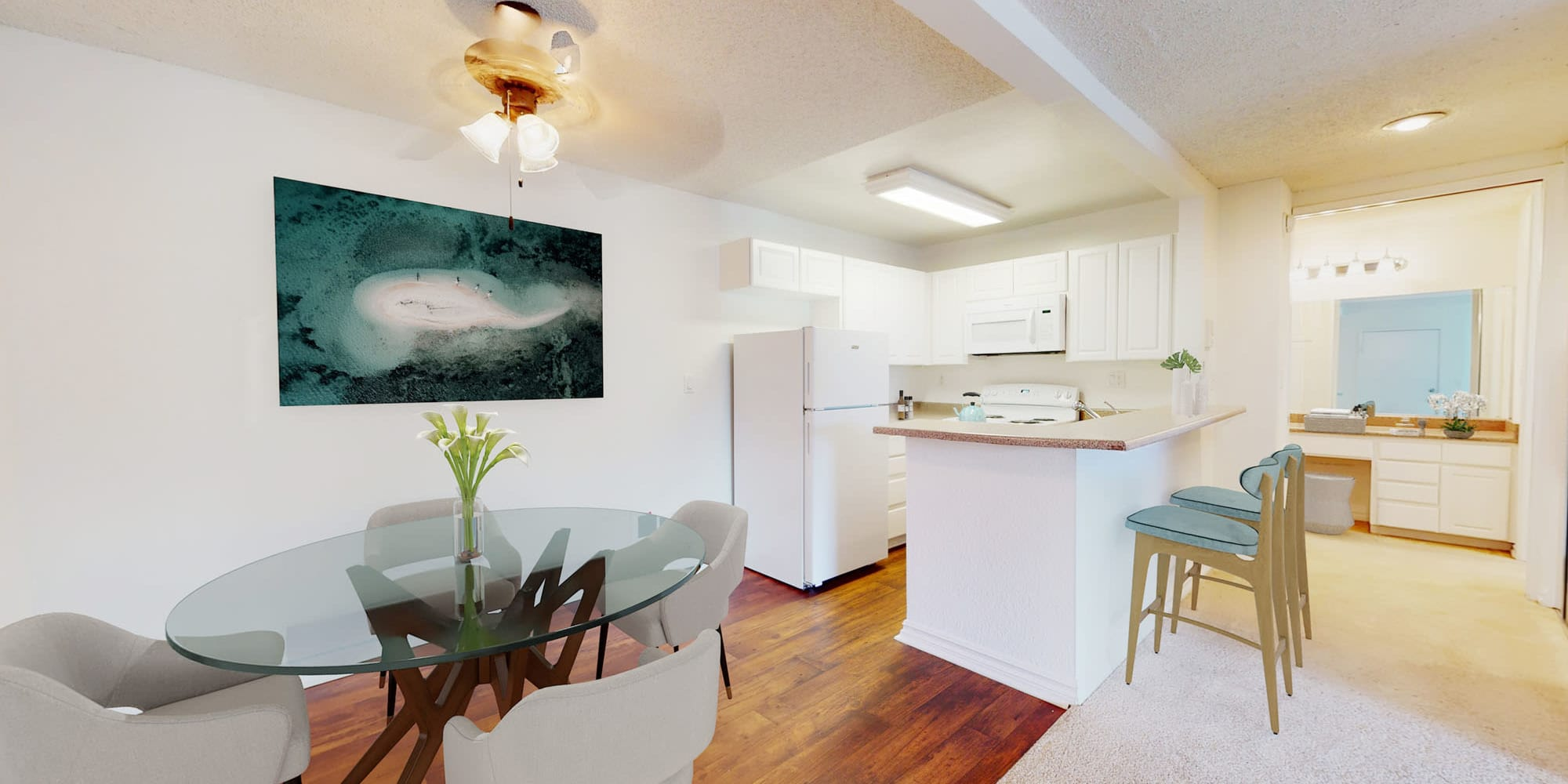 Hardwood flooring in the dining area of a model apartment at Mariners Village in Marina del Rey, California