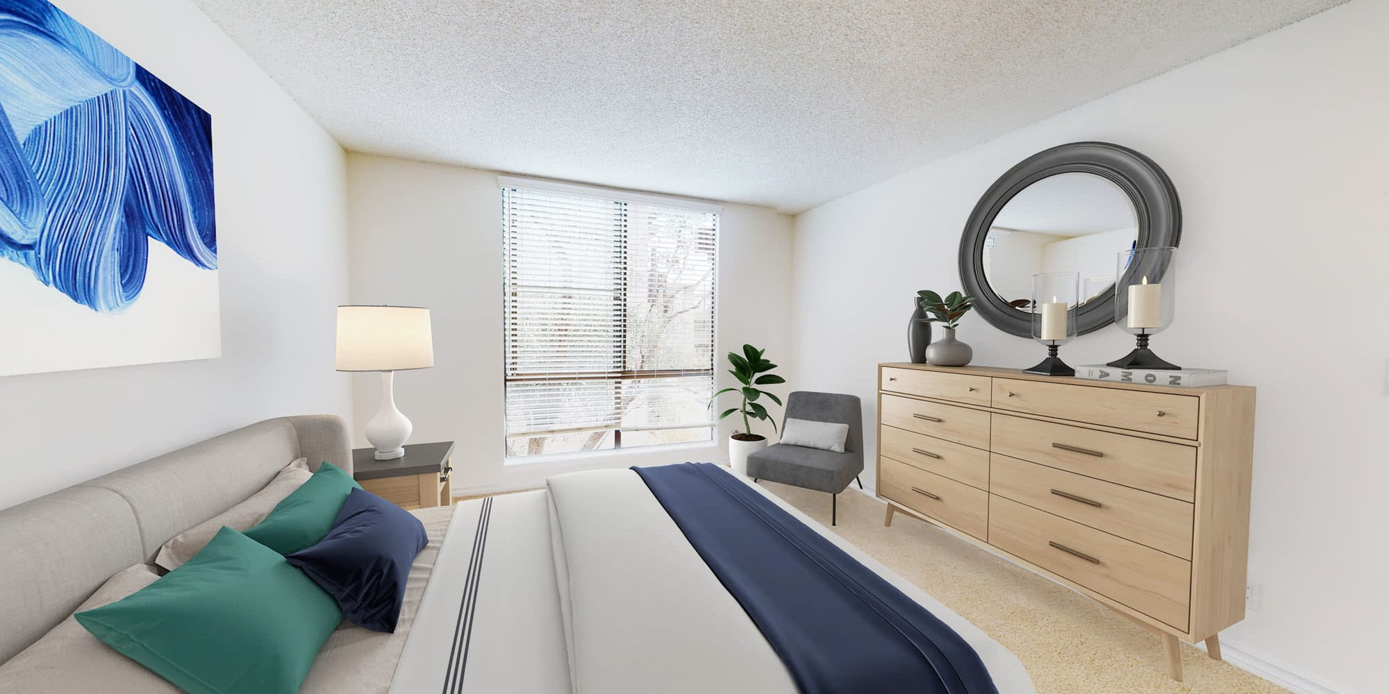 Well-furnished bedroom in a model apartment at Mariners Village in Marina del Rey, California