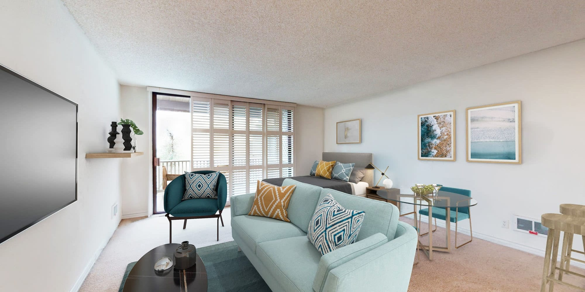 Beautiful hardwood floors and ample room for furnishings in the large open-concept living area of a model apartment at Mariners Village in Marina del Rey, California
