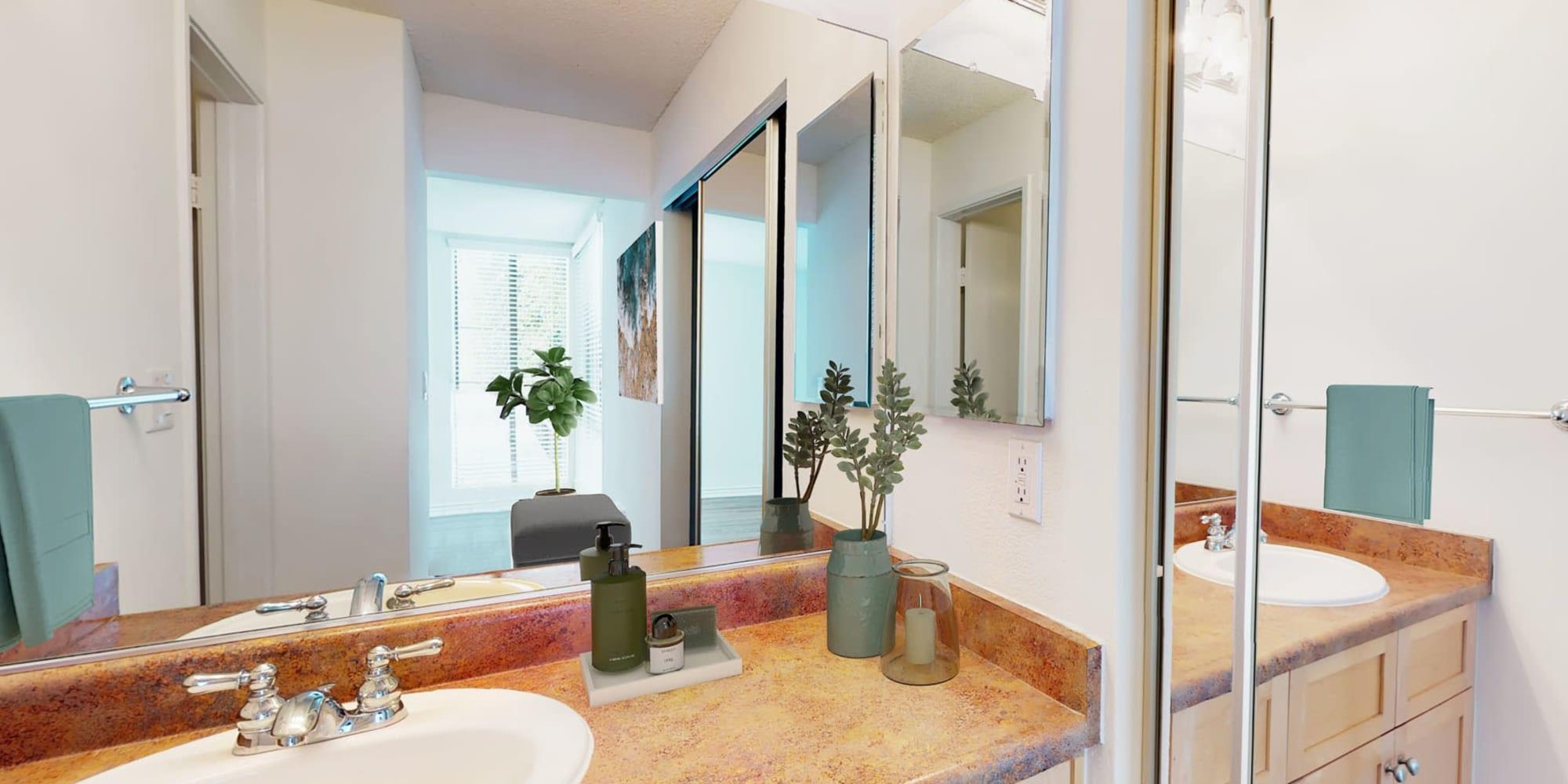 Extra full-length mirror in a model home's en suite primary bathroom at Mariners Village in Marina del Rey, California