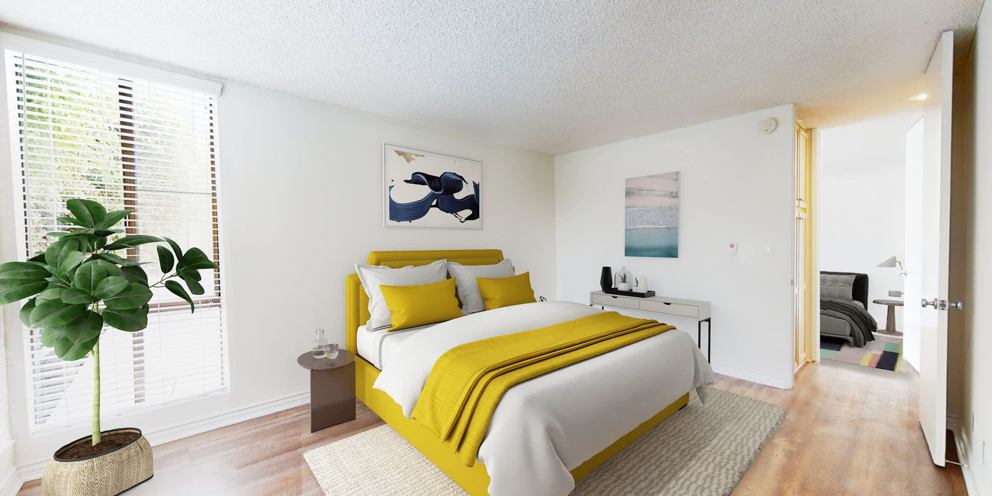 Spacious bedroom with extra storage and hardwood floors at Mariners Village in Marina del Rey, California