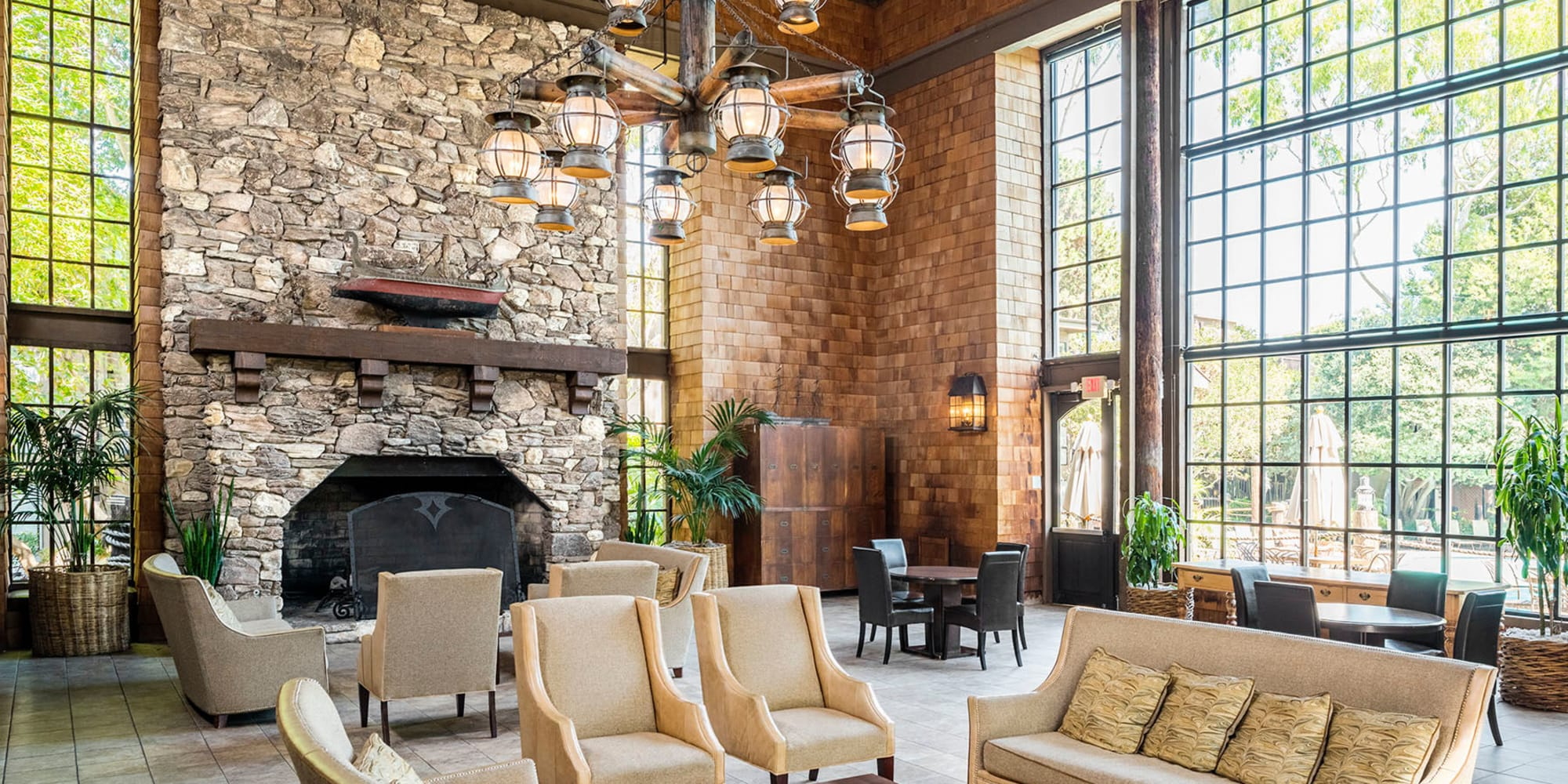 Lounge area in front of the fireplace in the lobby at Mariners Village in Marina del Rey, California