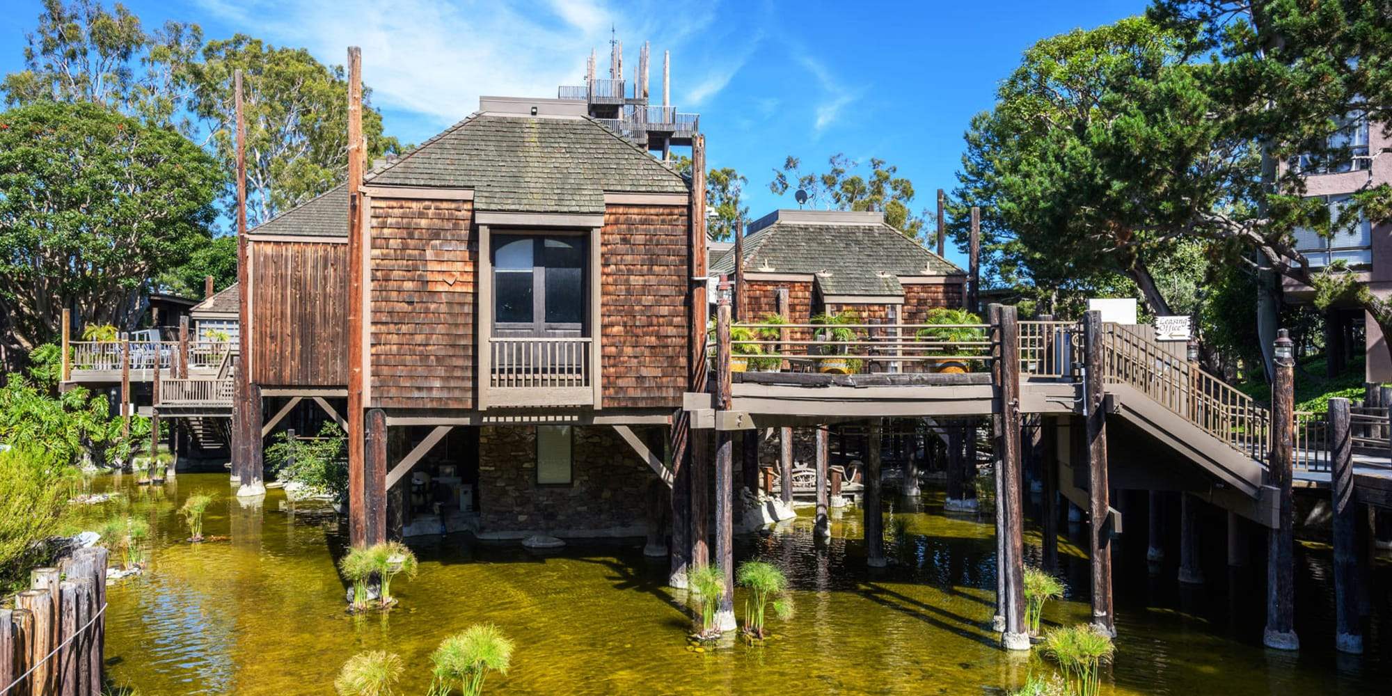 Resident clubhouse on stilts above the lagoon at Mariners Village in Marina del Rey, California