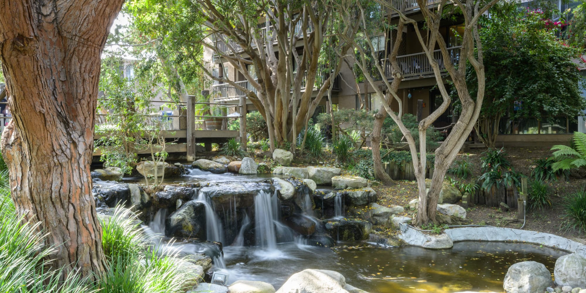 Water feature winding among mature trees at Mariners Village in Marina del Rey, California