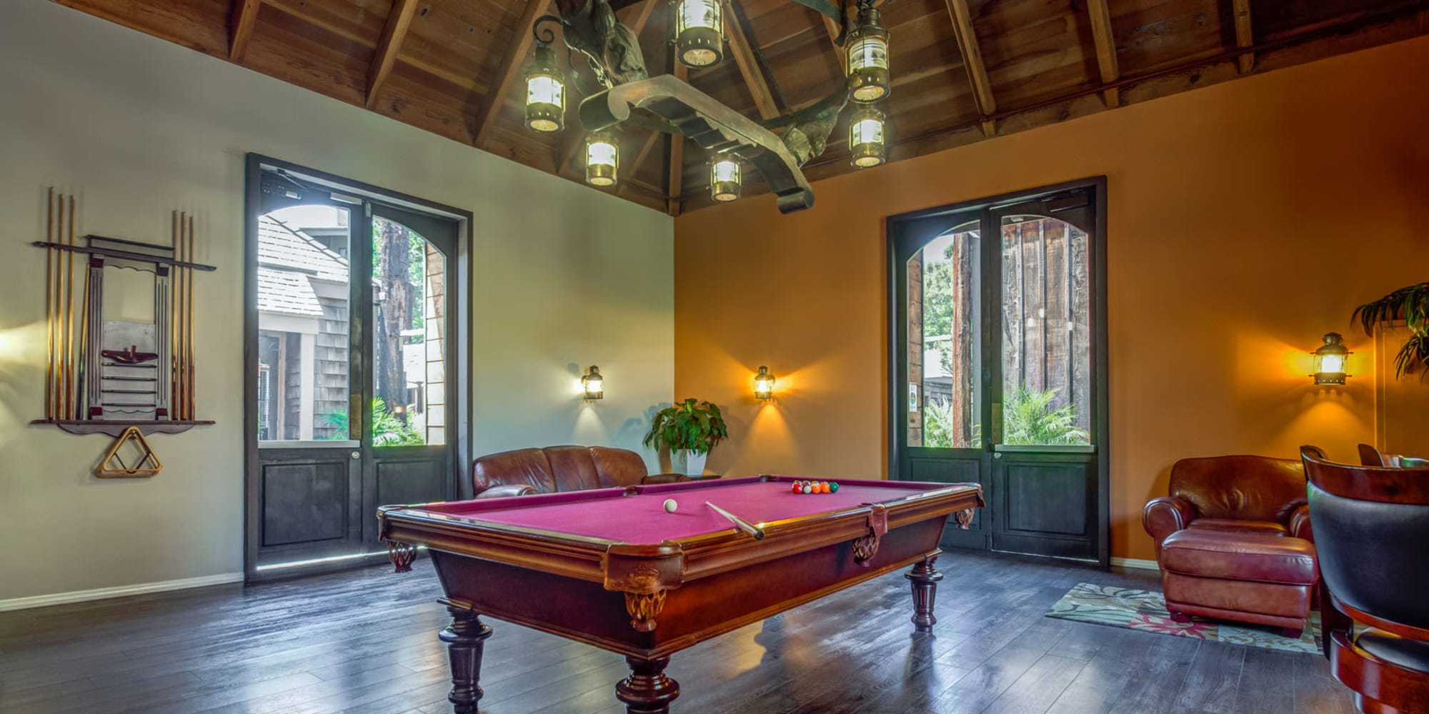 Billiards table and more in the clubhouse game room at Mariners Village in Marina del Rey, California