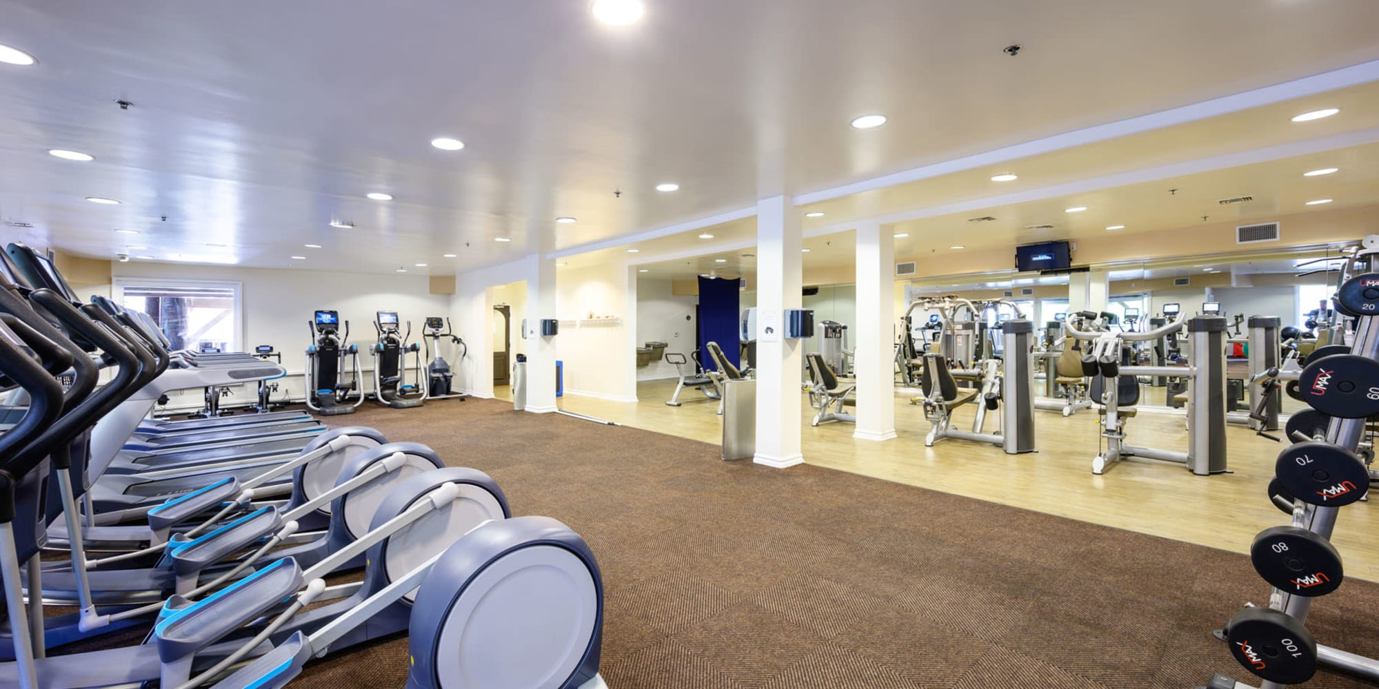Large and very well-equipped fitness center at Mariners Village in Marina del Rey, California