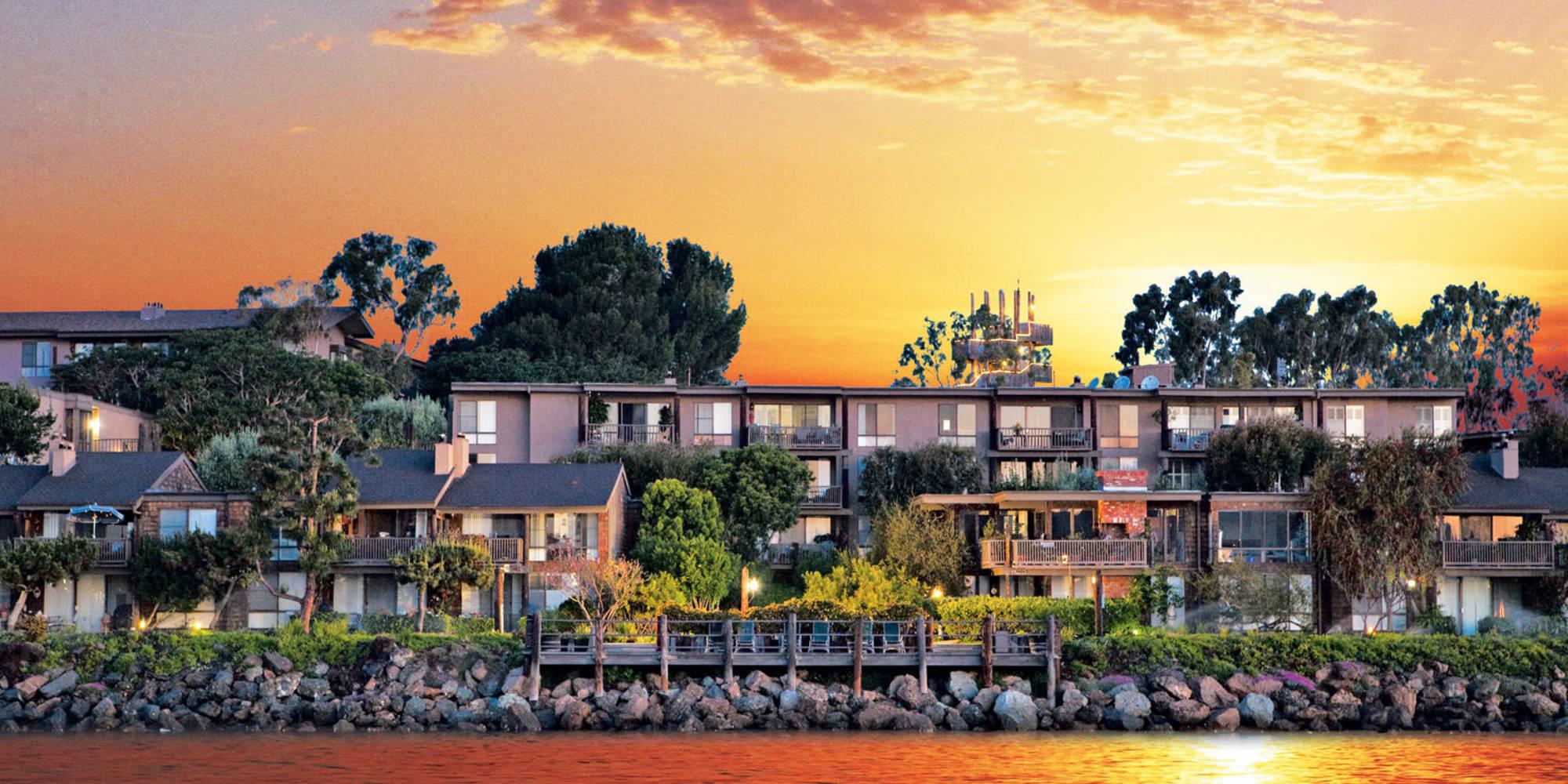 Sunset over Mariners Village in Marina del Rey, California