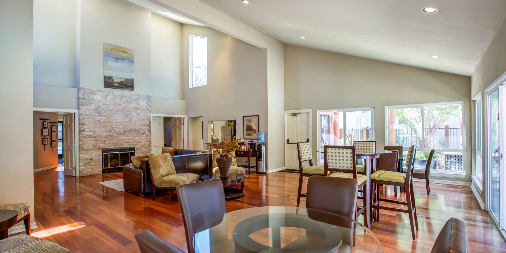 Bright and welcoming resident clubhouse interior at Valley Plaza Villages in Pleasanton, California