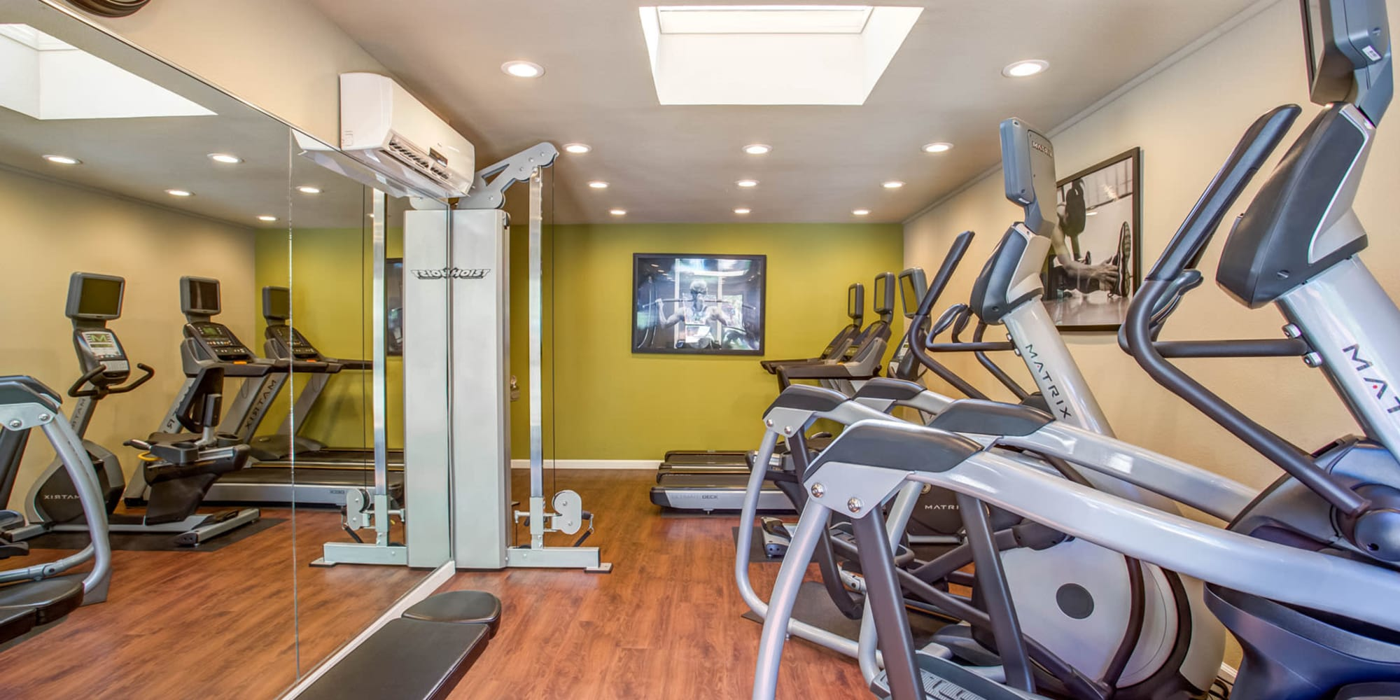 Well-equipped fitness center at Valley Plaza Villages in Pleasanton, California