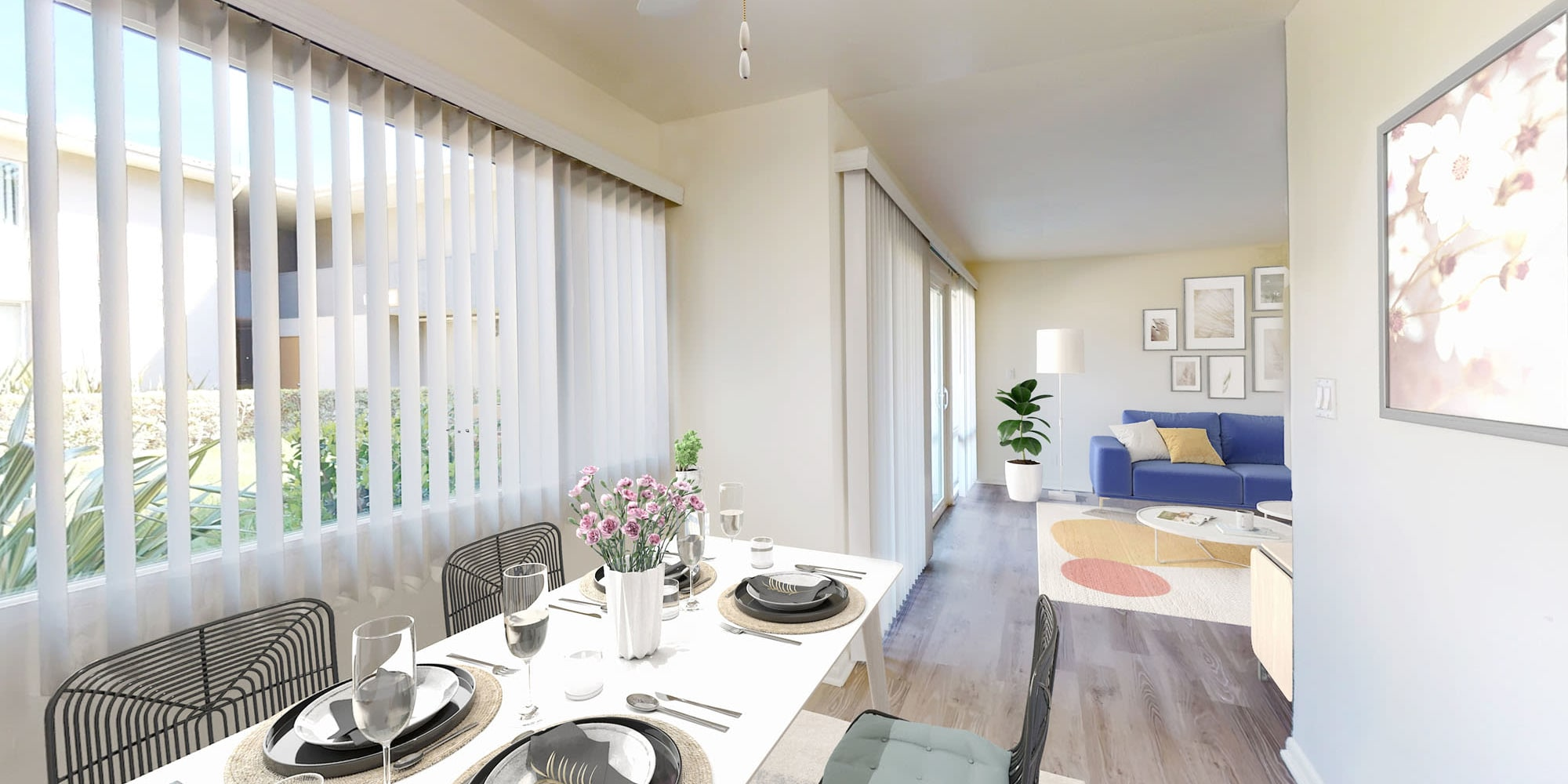 Partial view of the living area from a two bedroom home's dining space at West Park Village in Los Angeles, California