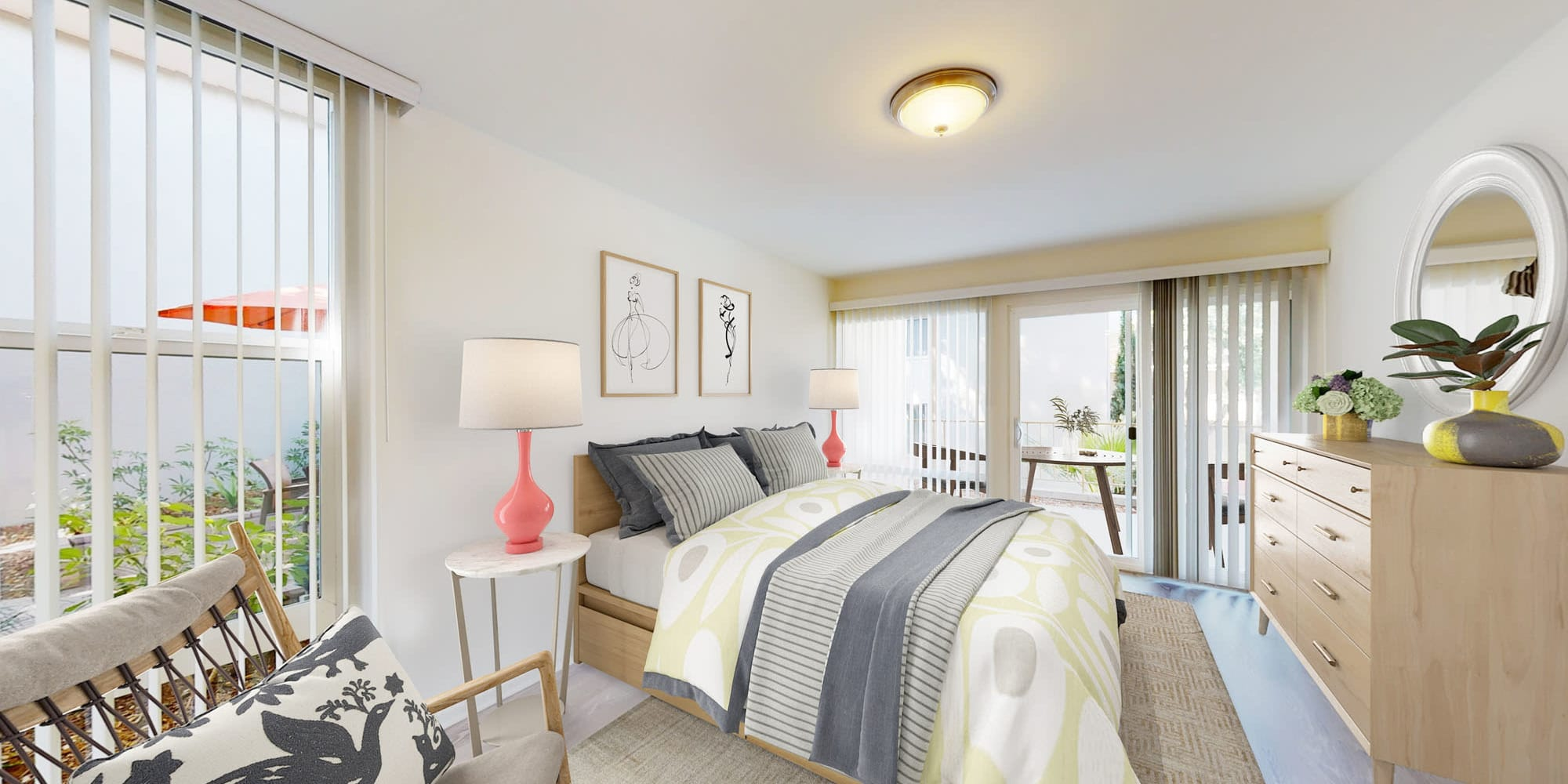 Beautifully decorated primary bedroom in a model two bedroom apartment at West Park Village in Los Angeles, California
