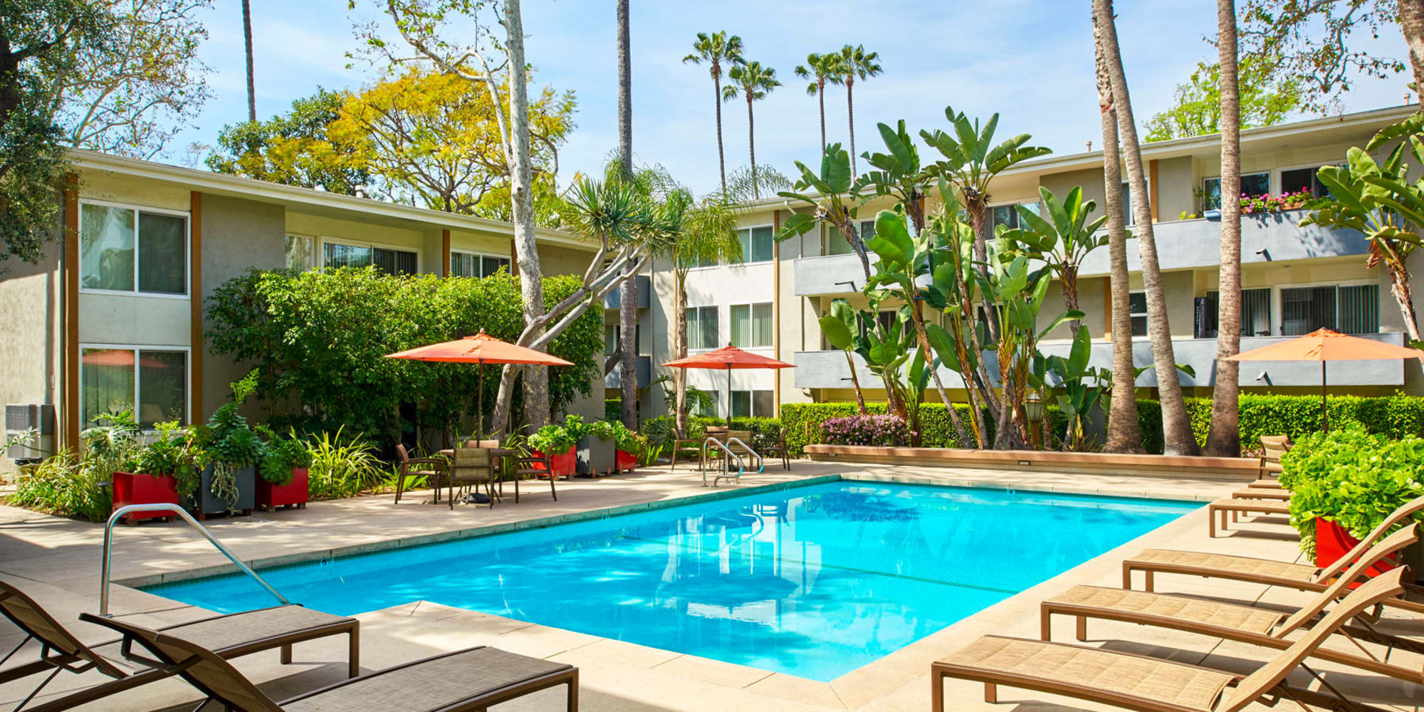 Beautiful morning at one of the resort-style swimming pools at West Park Village in Los Angeles, California