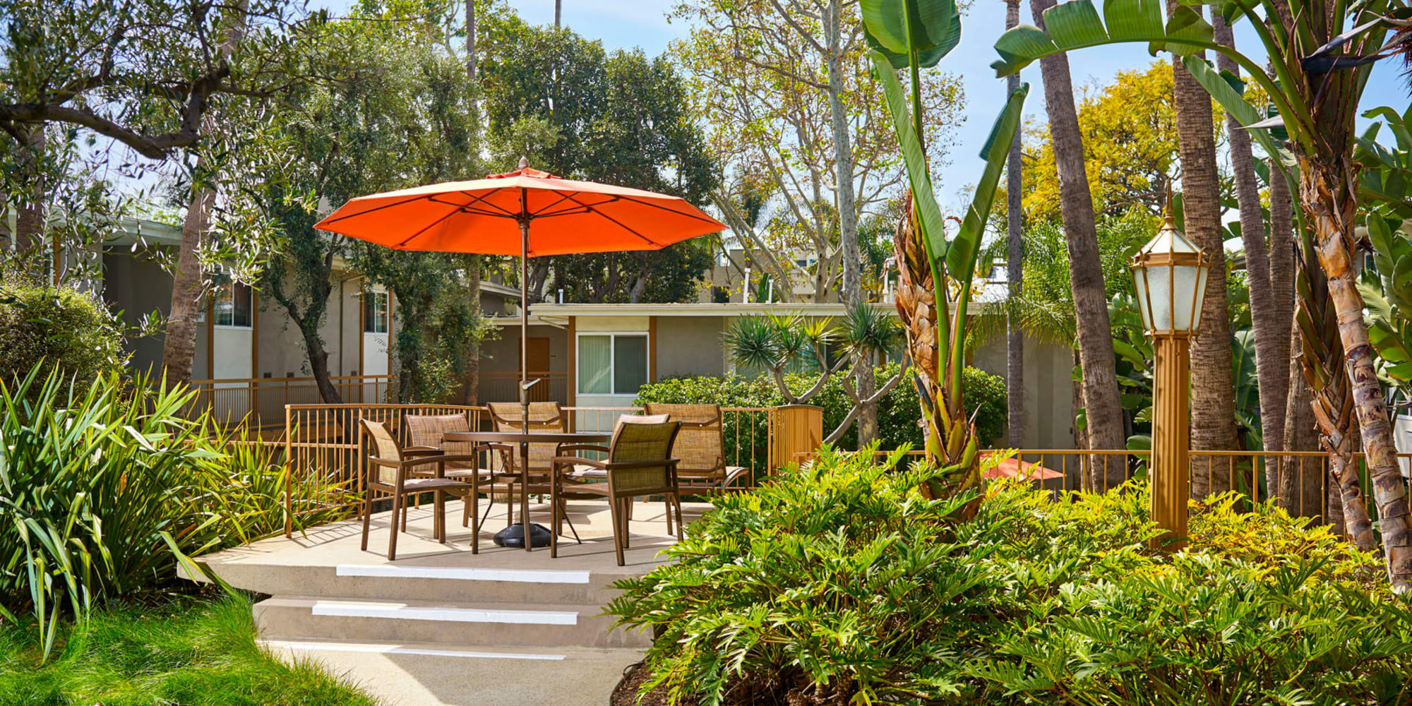 Professionally maintained landscaping throughout our garden-style community at West Park Village in Los Angeles, California