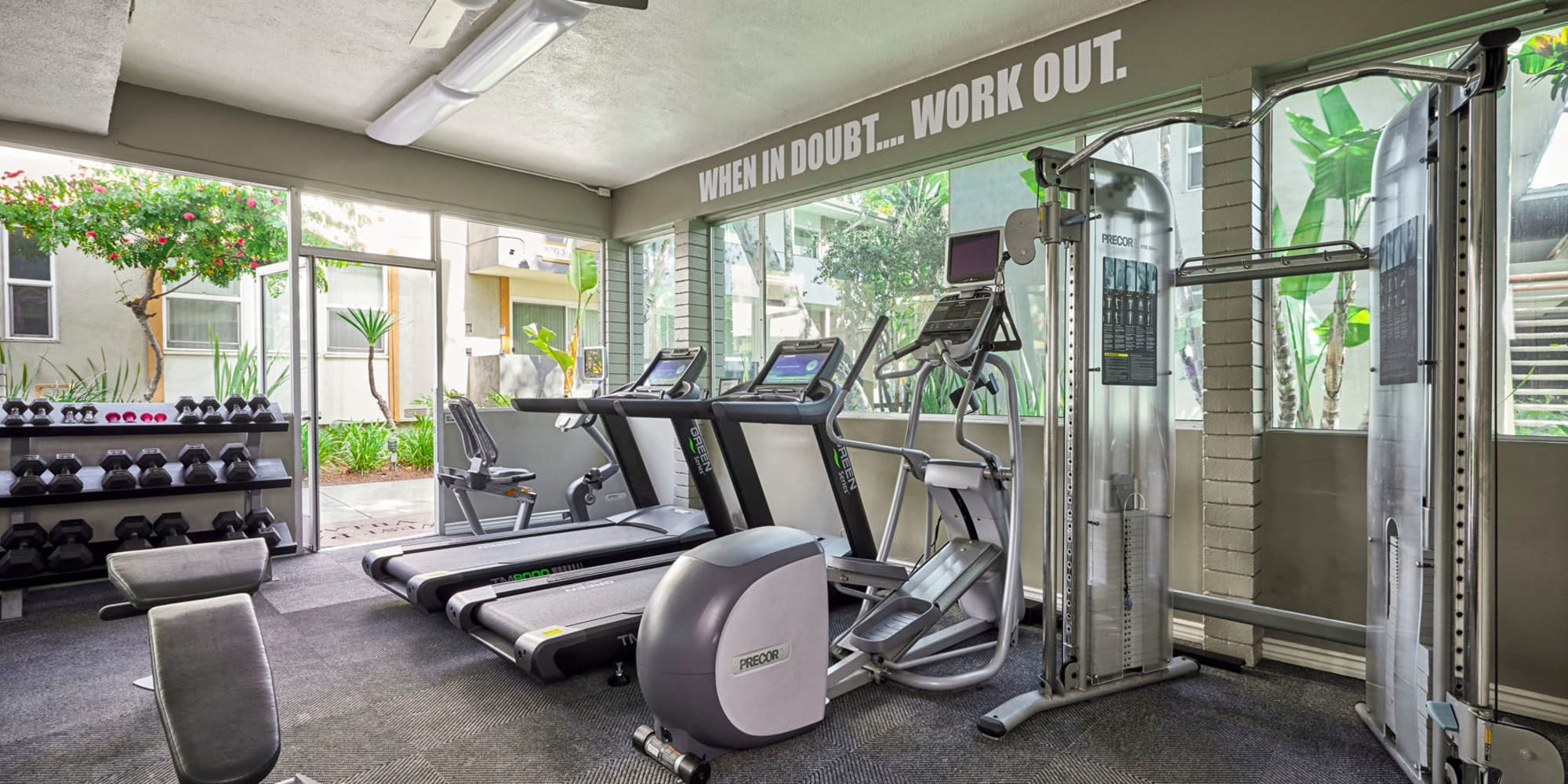 Onsite fitness center at West Park Village in Los Angeles, California