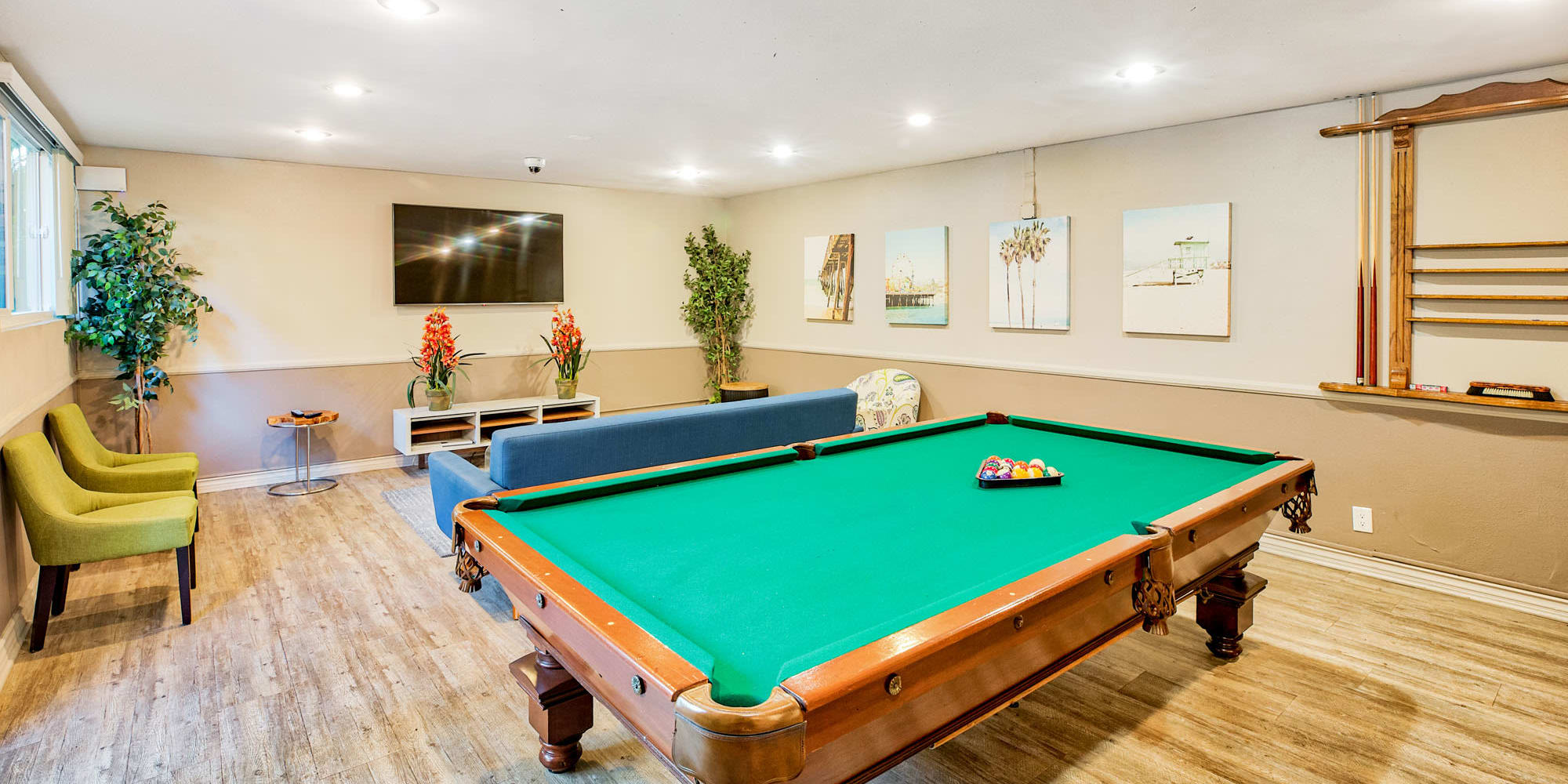 Game area with billiards in the resident clubhouse at Casa Granada in Los Angeles, California