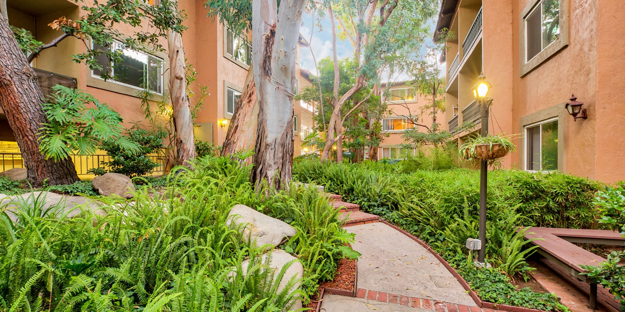 Winding pathway through the thriving green landscape at Casa Granada in Los Angeles, California