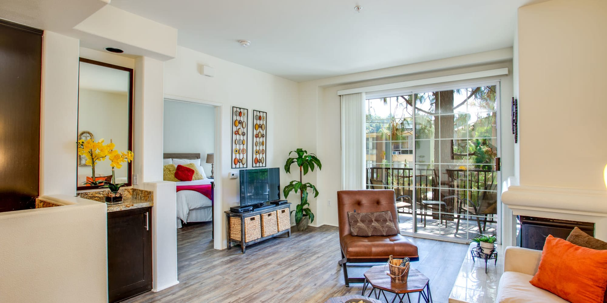 Beautifully furnished model luxury home's living space at L'Estancia in Studio City, California