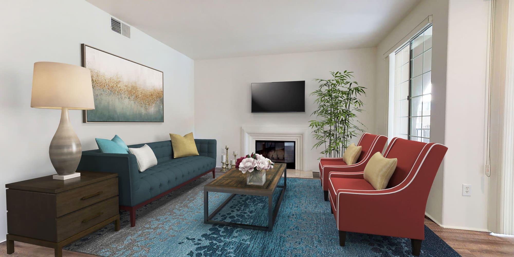 Classically furnished living area in a model home at L'Estancia in Studio City, California