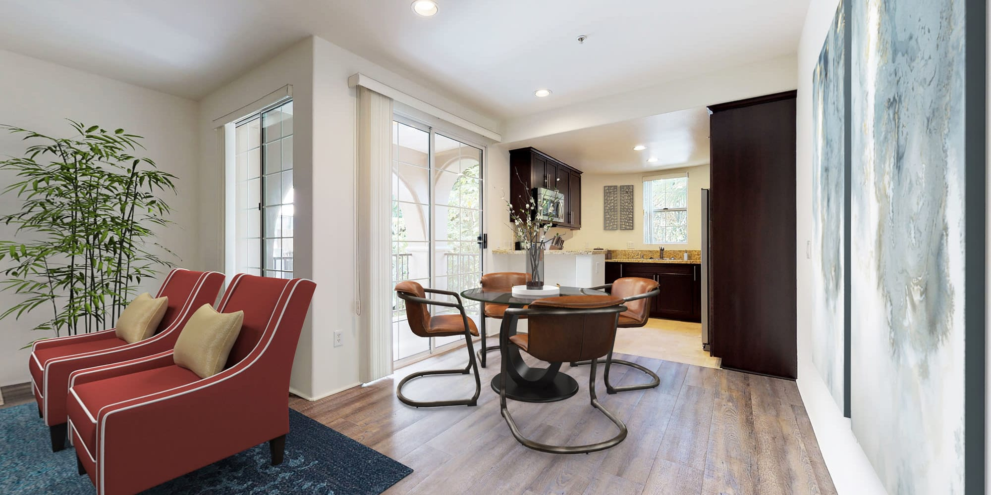 Hardwood flooring throughout the living space of a model home at L'Estancia in Studio City, California