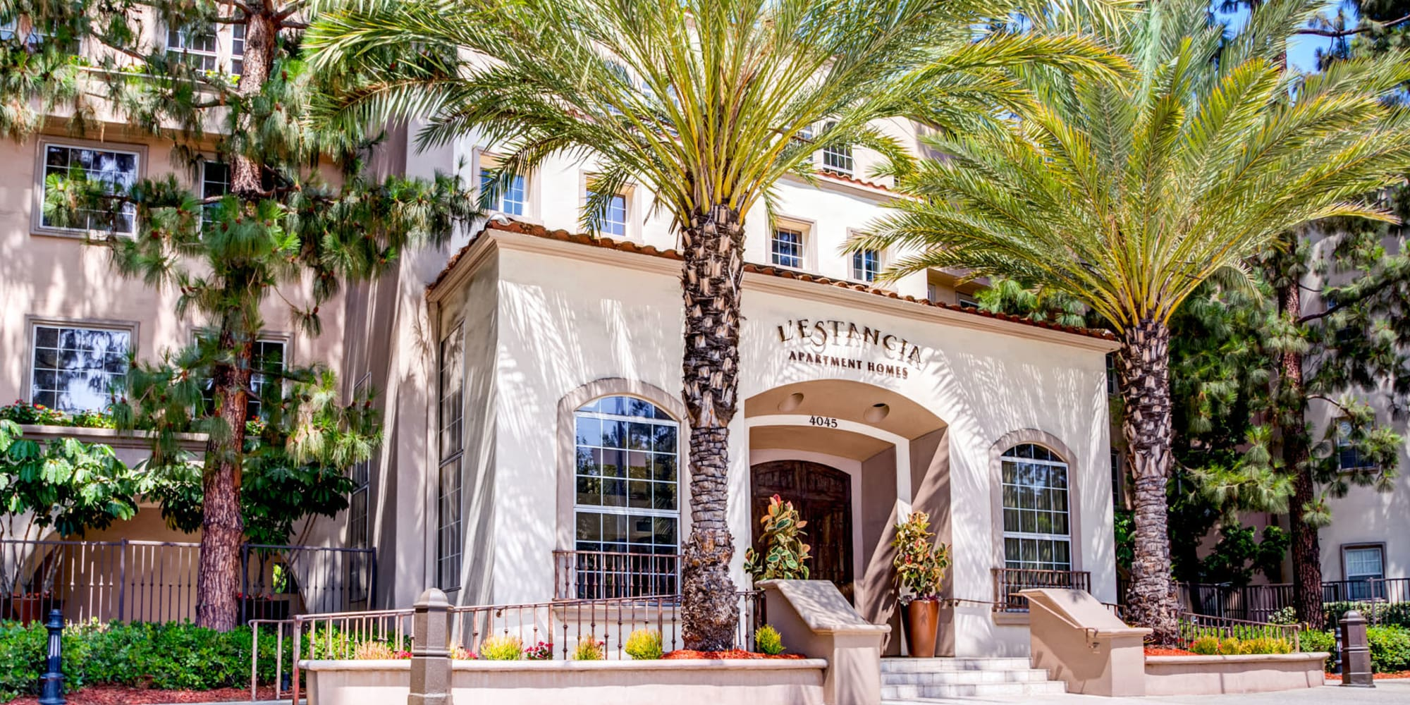 Exterior view of the entrance to our luxury community at L'Estancia in Studio City, California