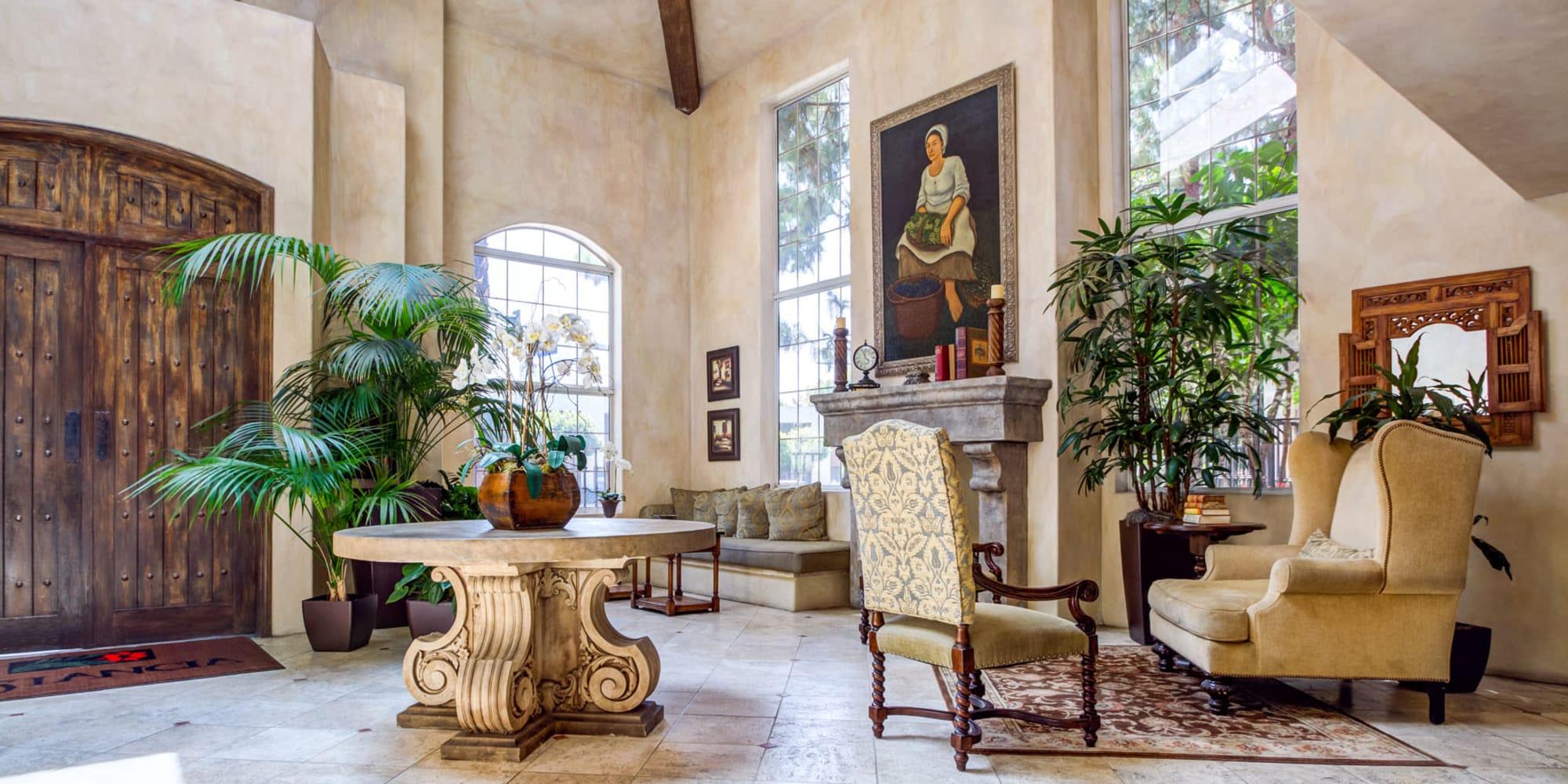 Beautifully decorated lobby interior at L'Estancia in Studio City, California