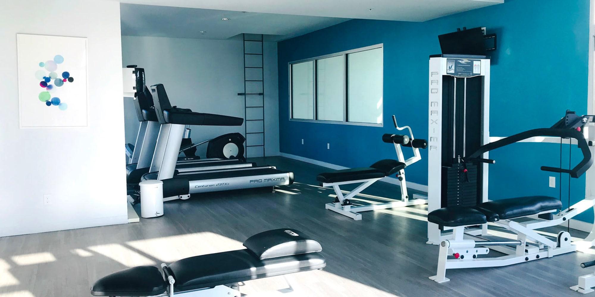 Cardio equipment and exercise machines in the fitness center at Citron in Ventura, California