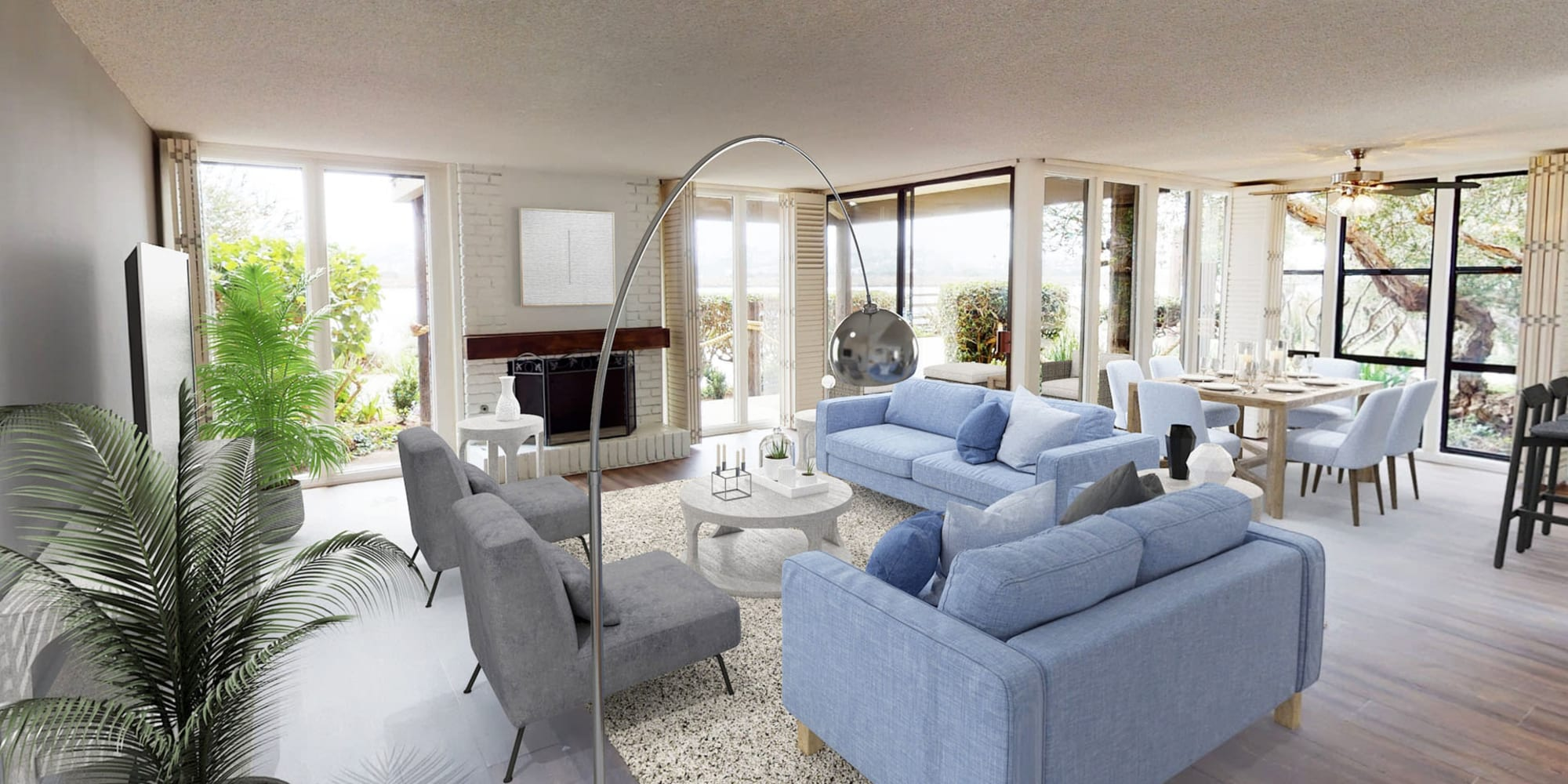 Three bedroom luxury waterfront home's living space with modern furnishings at Mariners Village in Marina del Rey, California