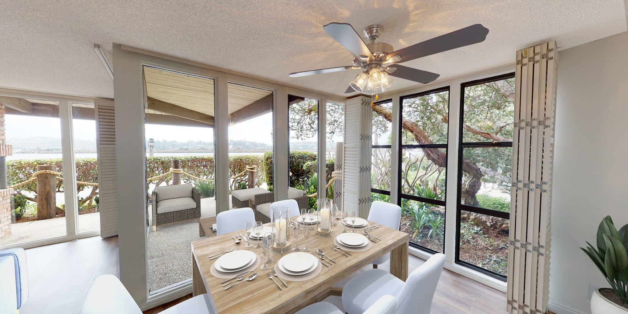 Spacious three-bedroom home's dining area at Mariners Village in Marina del Rey, California