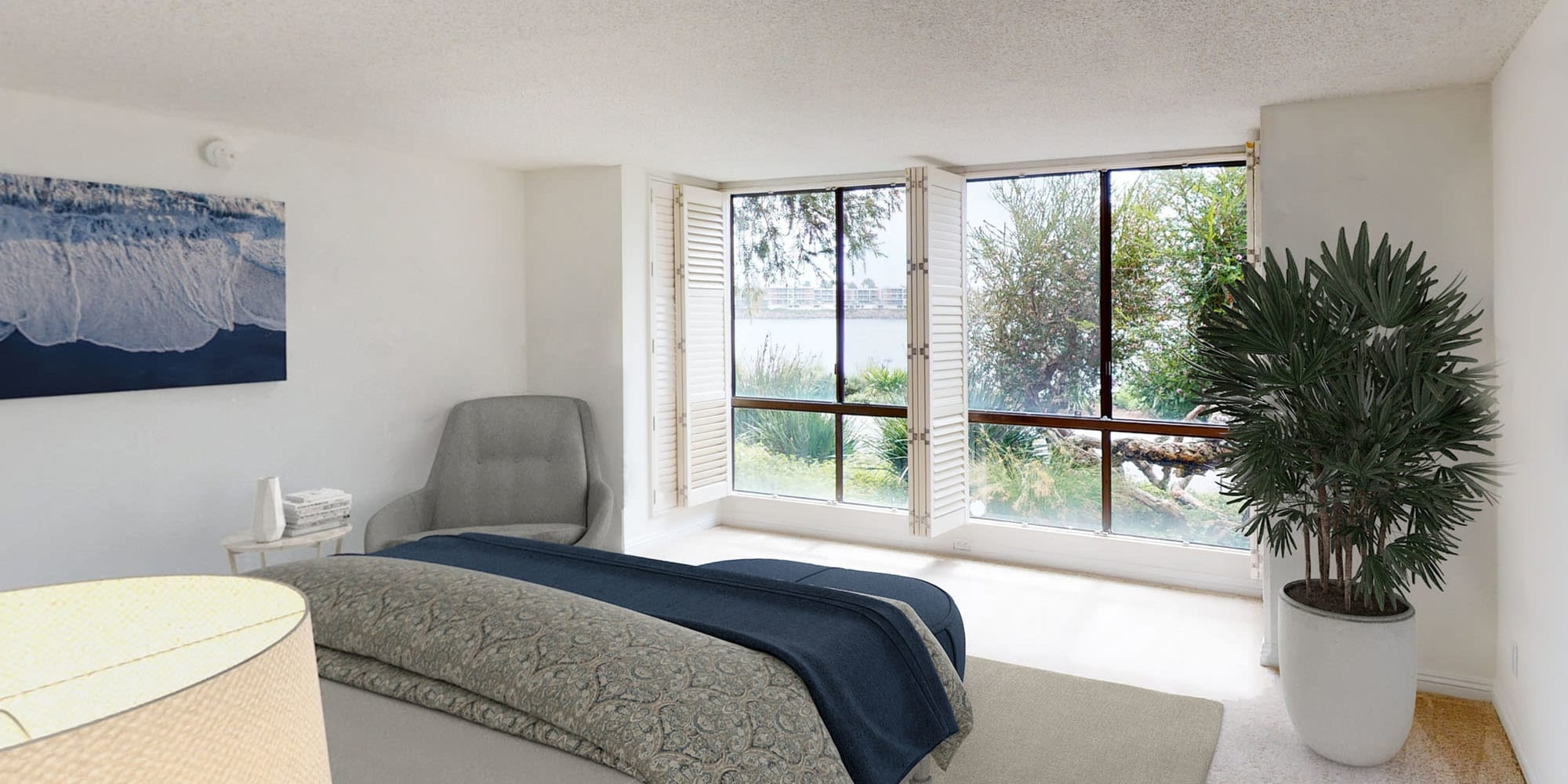 Bay windows in a model three-bedroom home's primary suite at Mariners Village in Marina del Rey, California