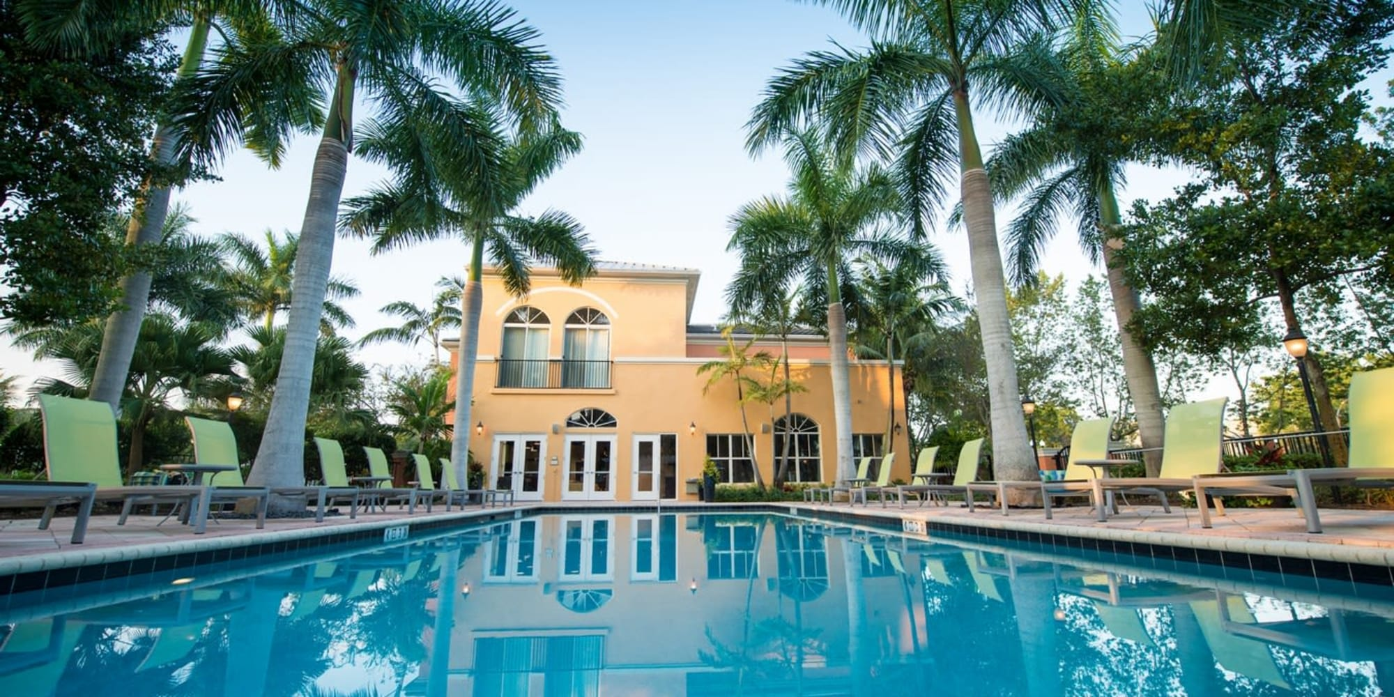 Resort style swimming pool surrounded by palm trees at The Pearl in Ft Lauderdale, Florida