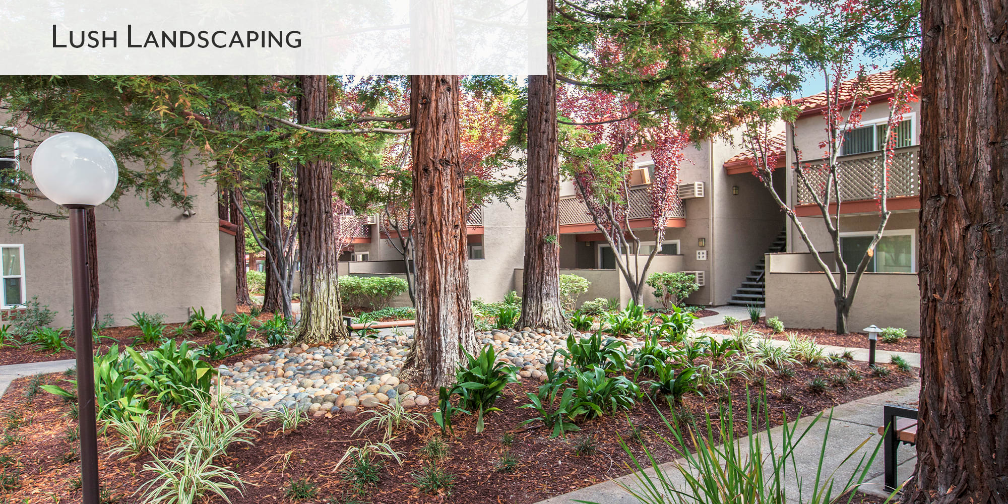 Lush landscaping at Valley Plaza Villages in Pleasanton, California