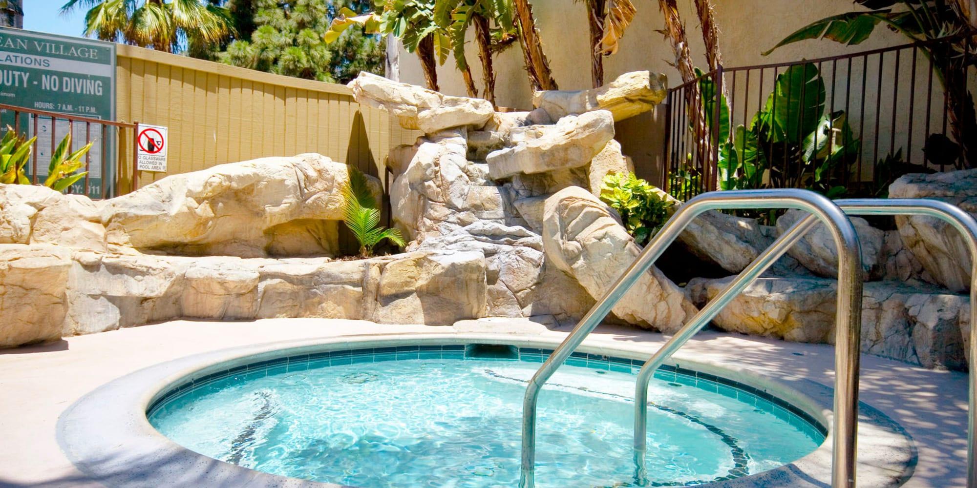 Spa area at Mediterranean Village Apartments in Costa Mesa, California