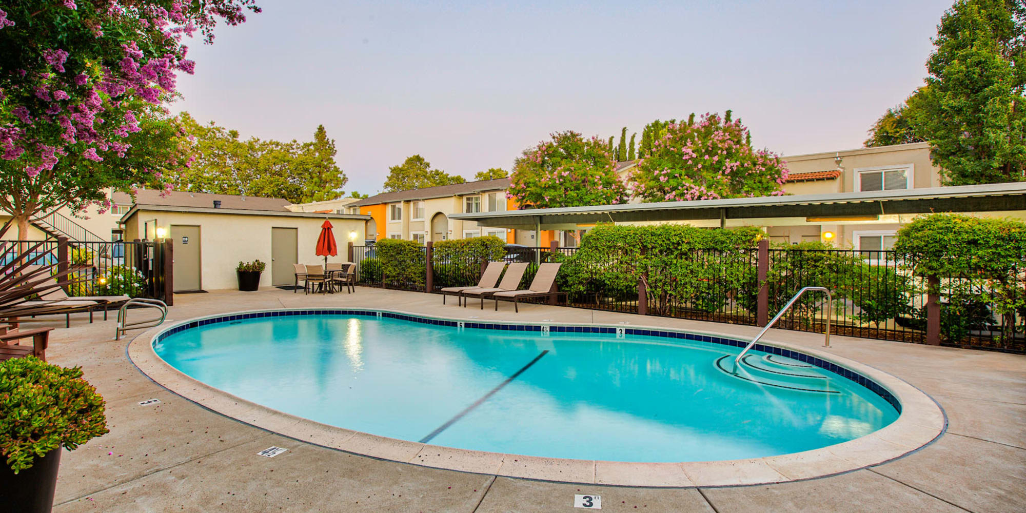 Gorgeous morning at the swimming pool area at Pleasanton Place Apartment Homes in Pleasanton, California