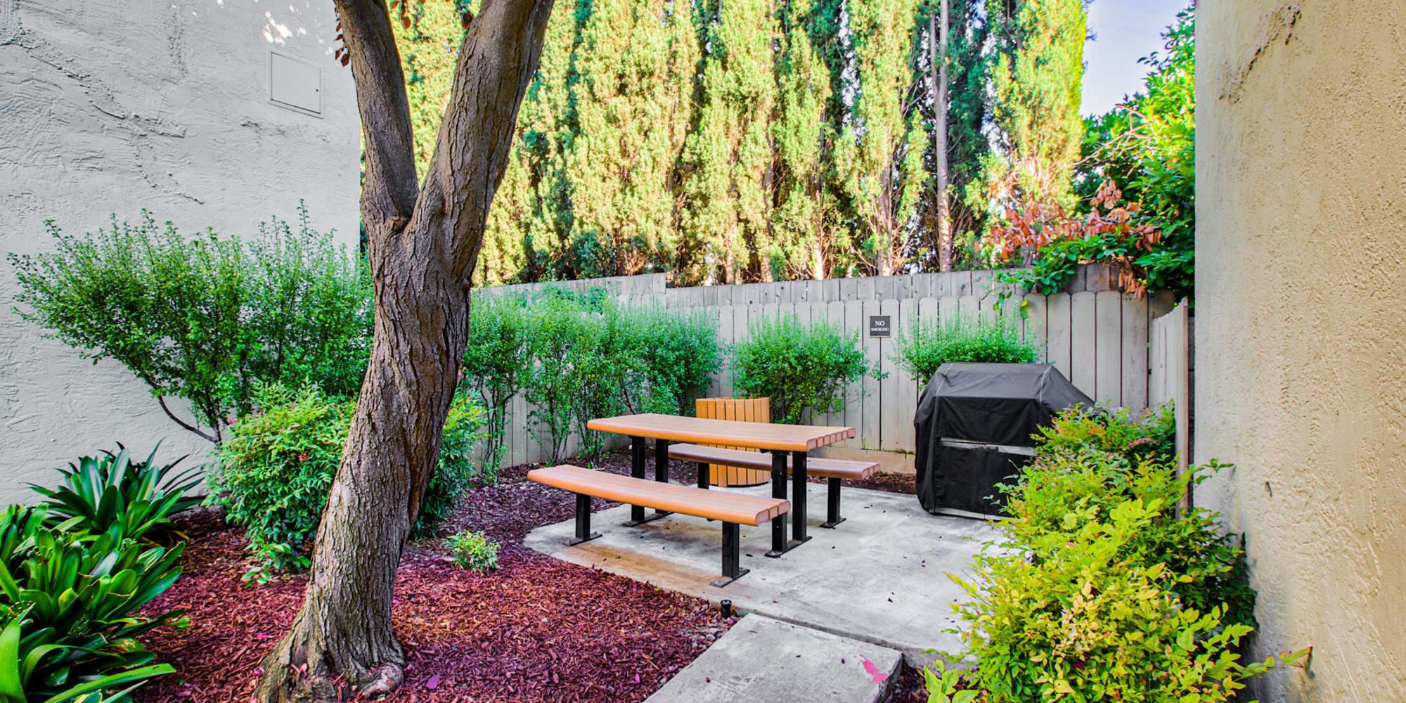 Barbecue grills at the picnic area at Pleasanton Place Apartment Homes in Pleasanton, California