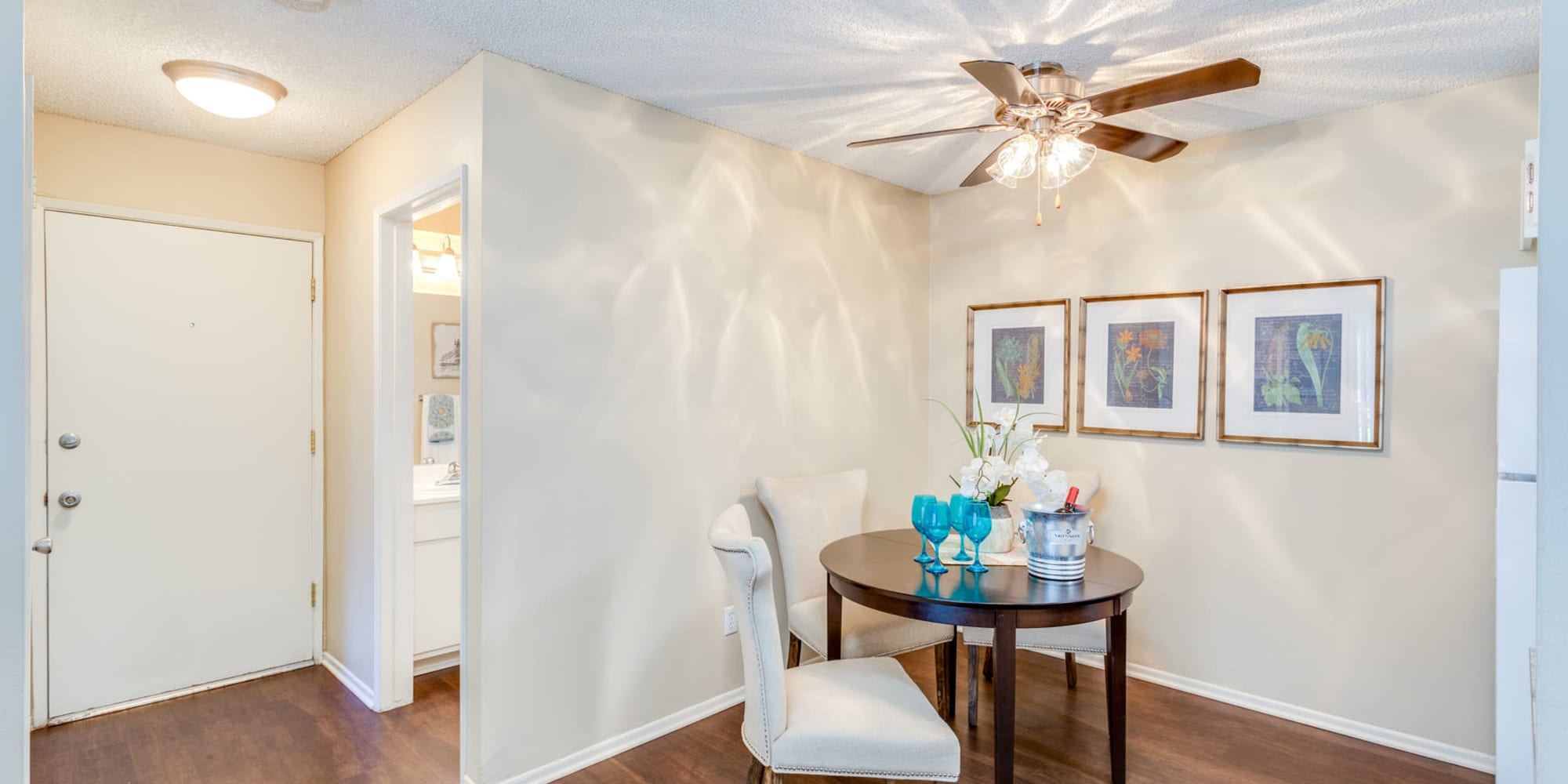 Ceiling fan above the dining nook in a model home at Mountain Vista in Victorville, California