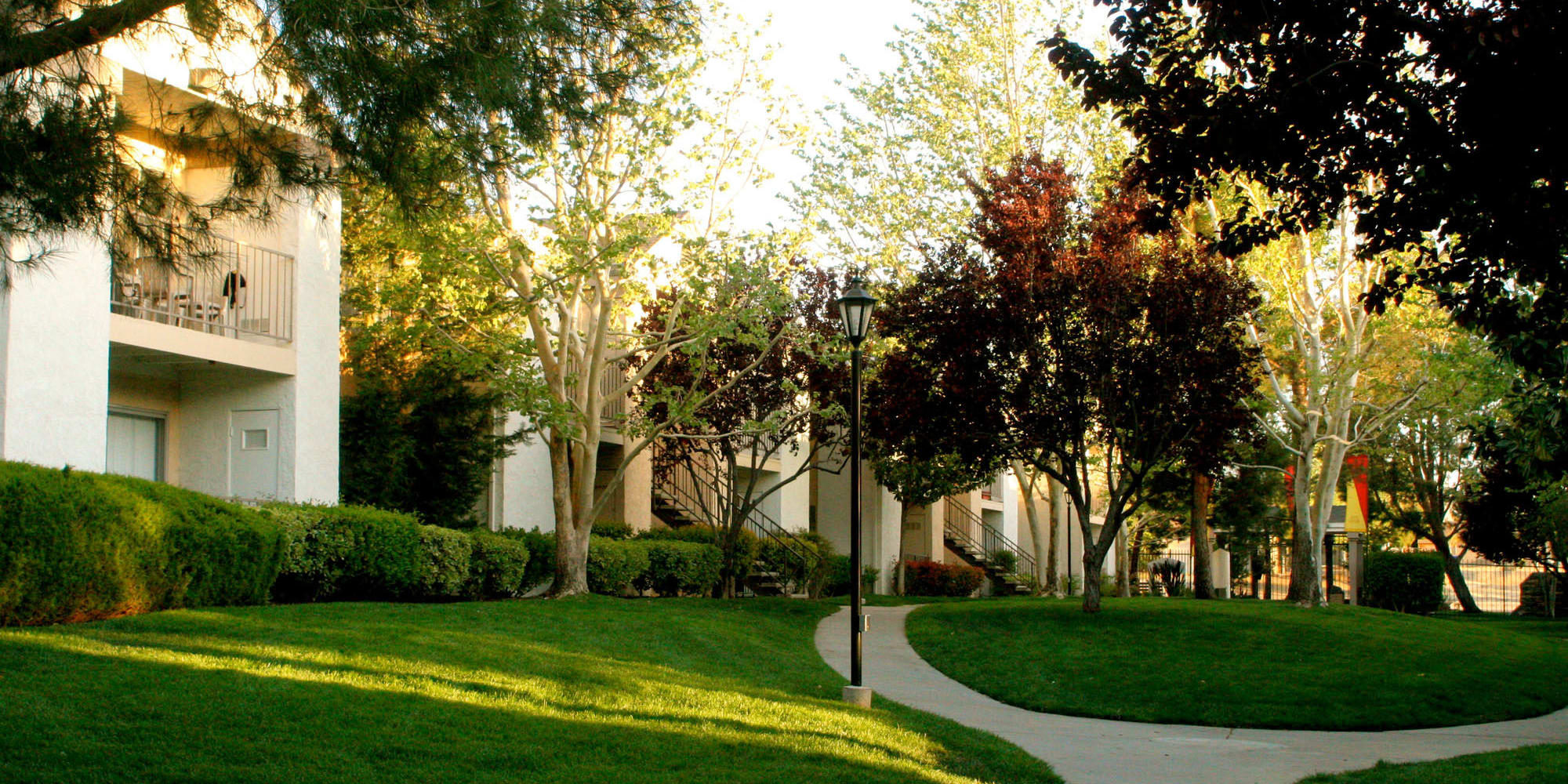 Mature trees providing afternoon shade on the green grass outside resident buildings at Mountain Vista in Victorville, California