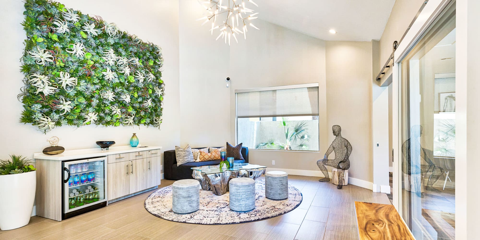 Bright and airy lobby with modern decor at Mountain Vista in Victorville, California