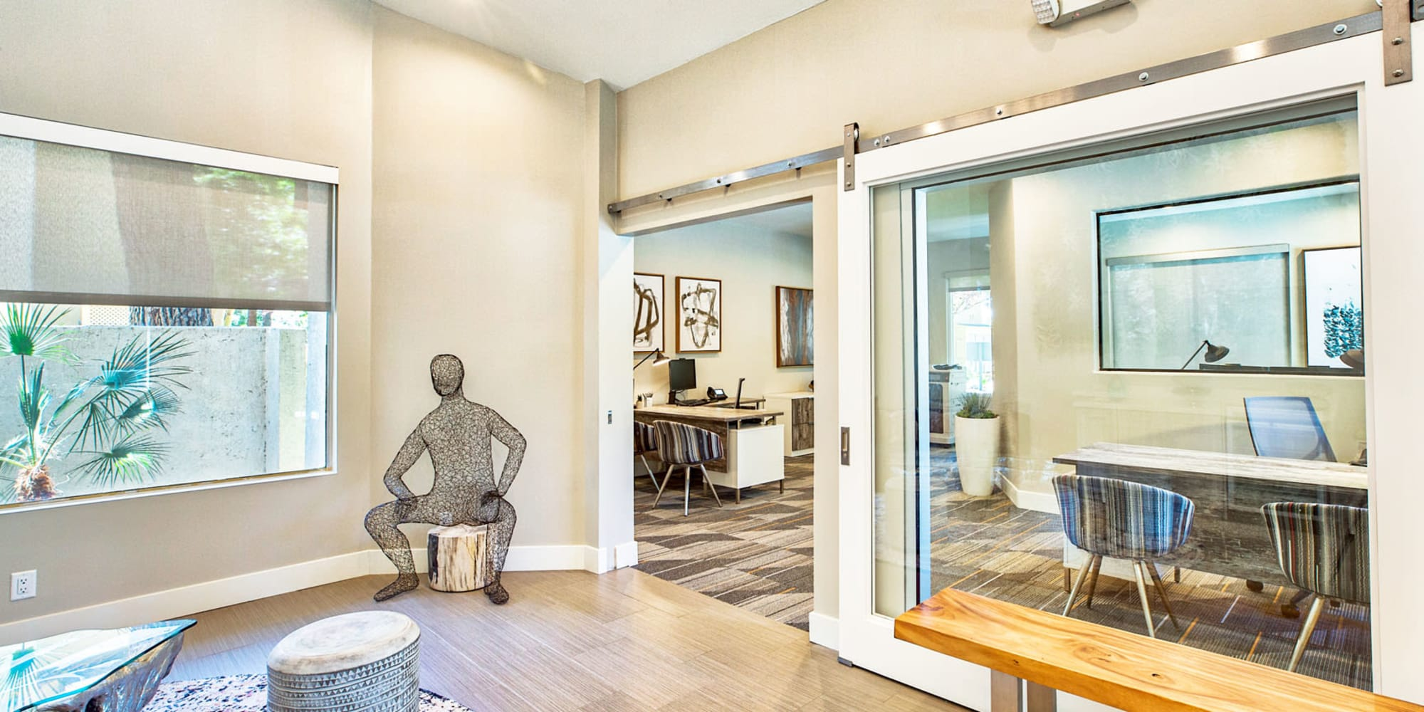 Lounge area near the leasing office at Mountain Vista in Victorville, California
