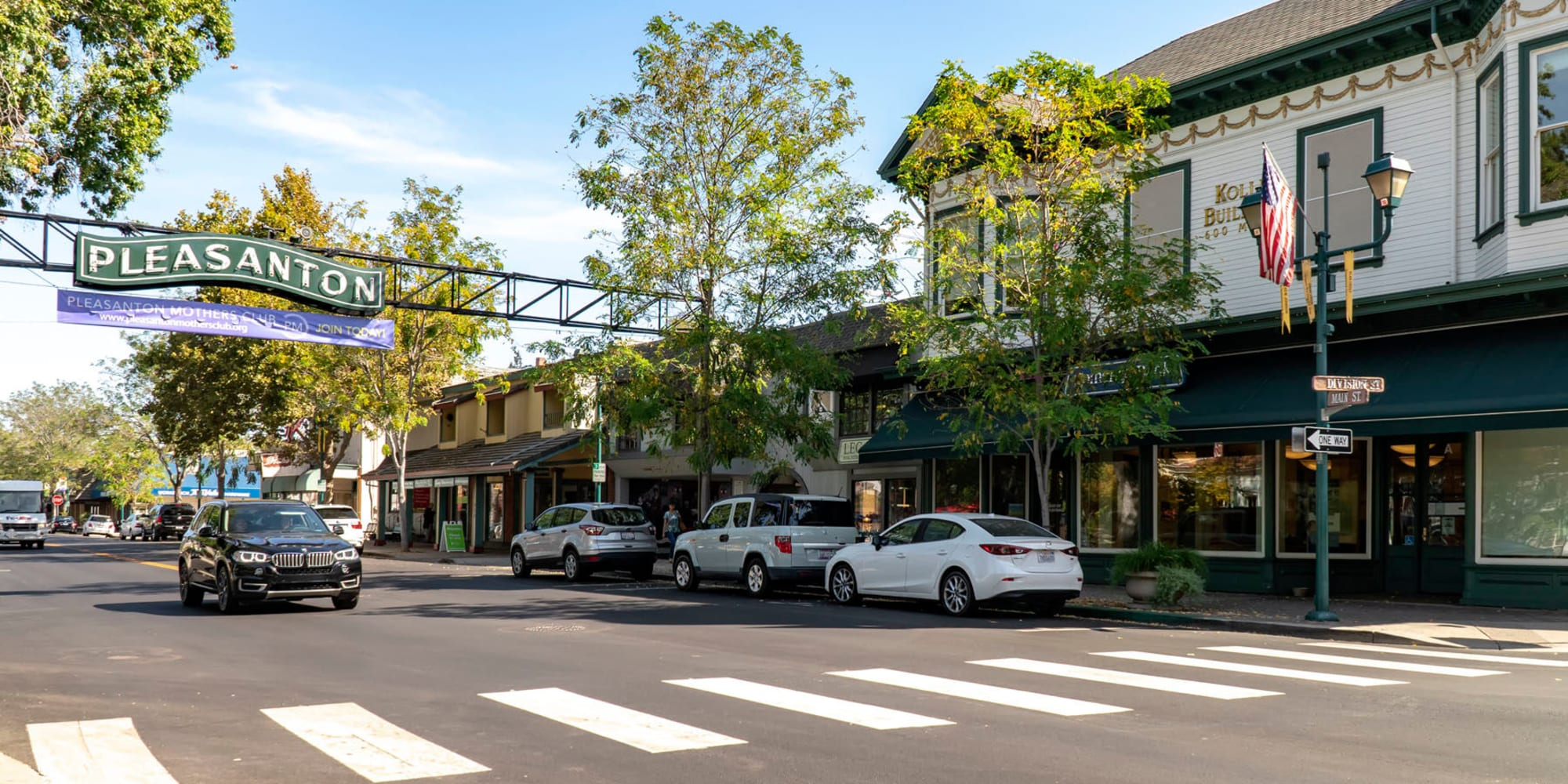 Downtown Pleasanton on another sunny morning near Pleasanton Heights in Pleasanton, California
