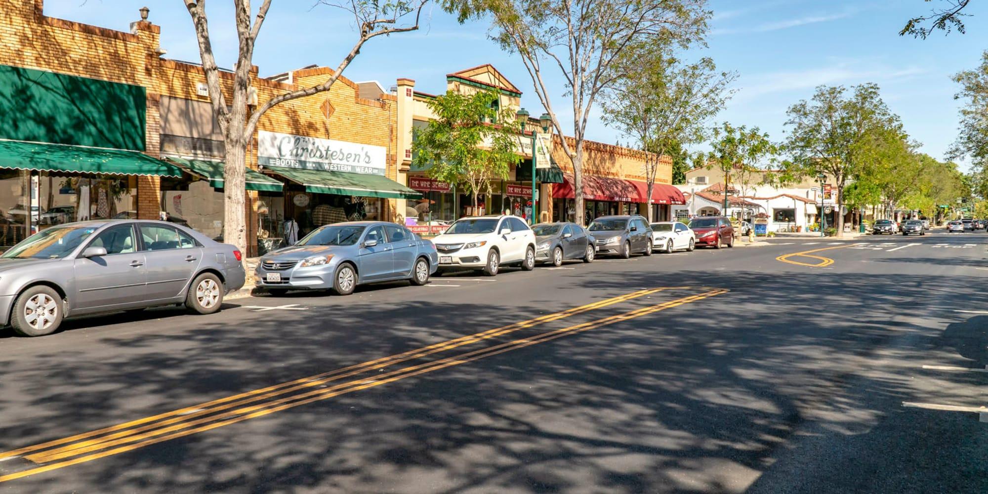 Retail shops on a downtown street near Pleasanton Heights in Pleasanton, California
