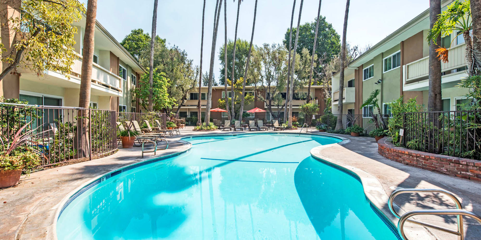 Resort-style swimming pool surrounded by palm trees at Villa Vicente in Los Angeles, California