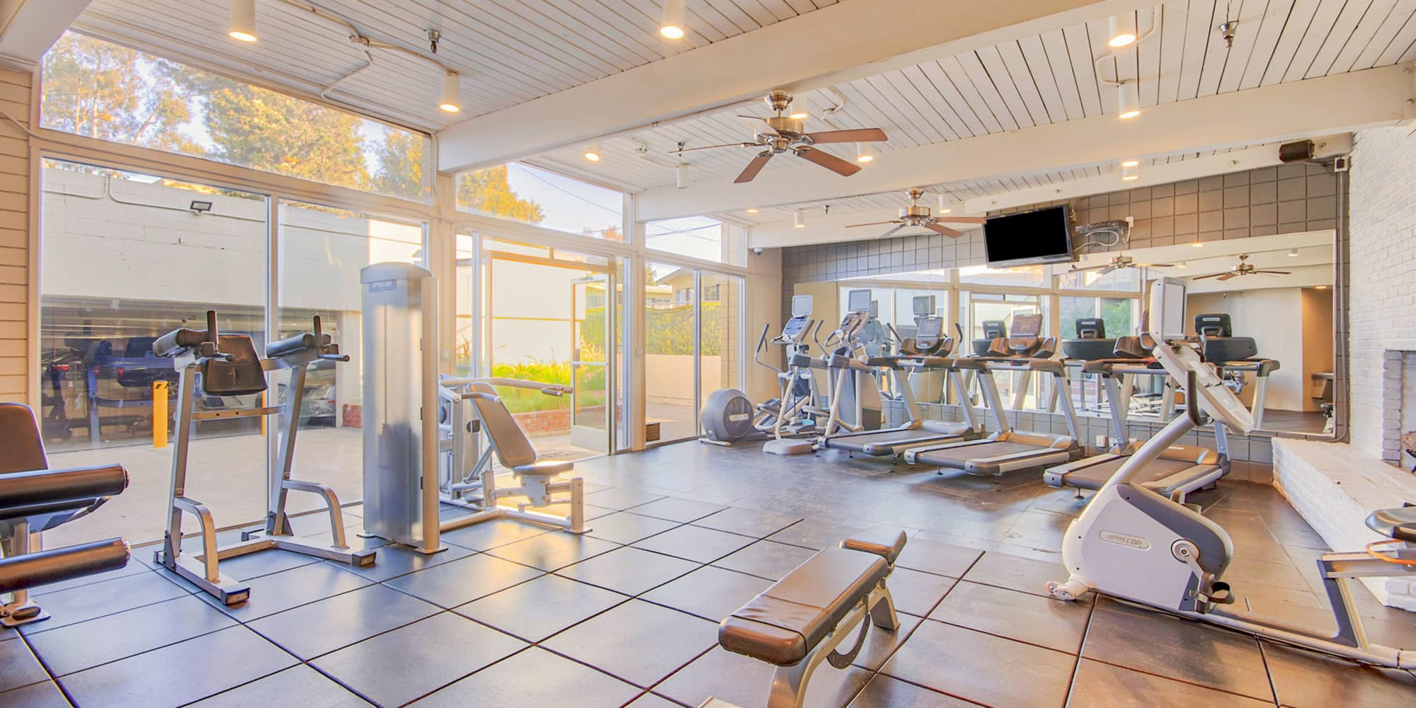 Well-equipped onsite fitness center at Villa Vicente in Los Angeles, California